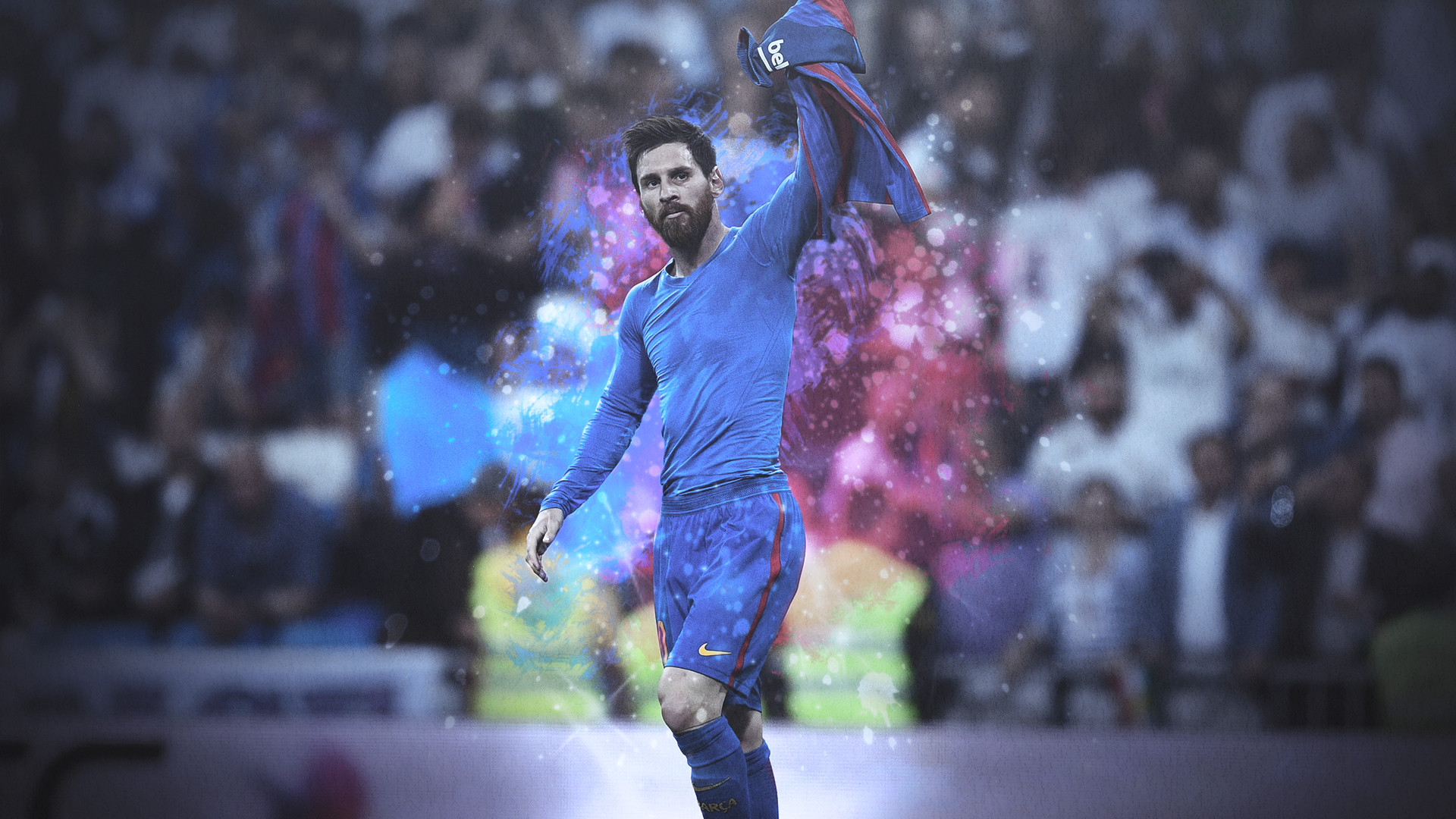 … Lionel Messi HD Background – Iconic Celebration by E-ZAF
