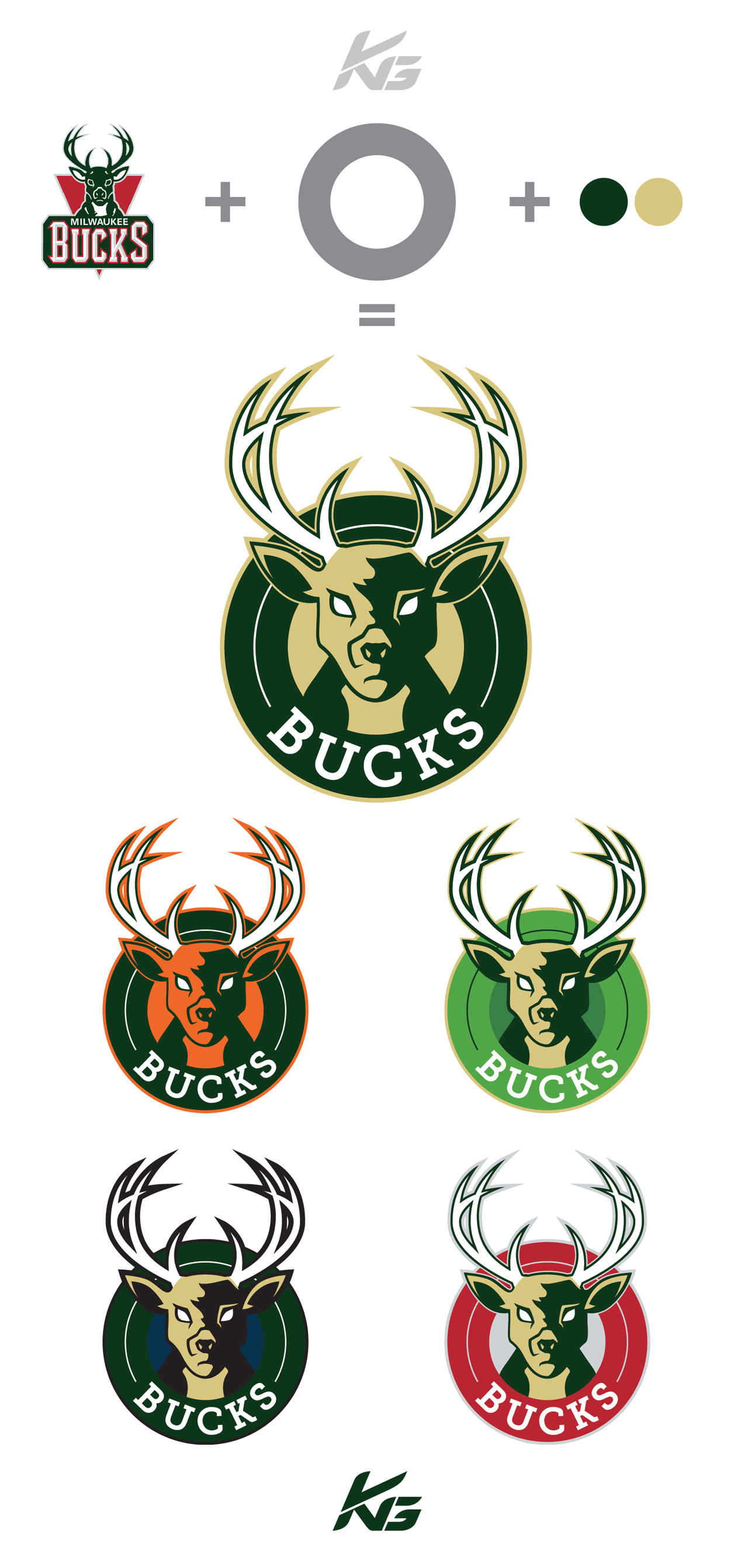 I took a shot at creating the new Bucks logo based off all the rumours and  also tried it out in the different colors that have been mentioned.