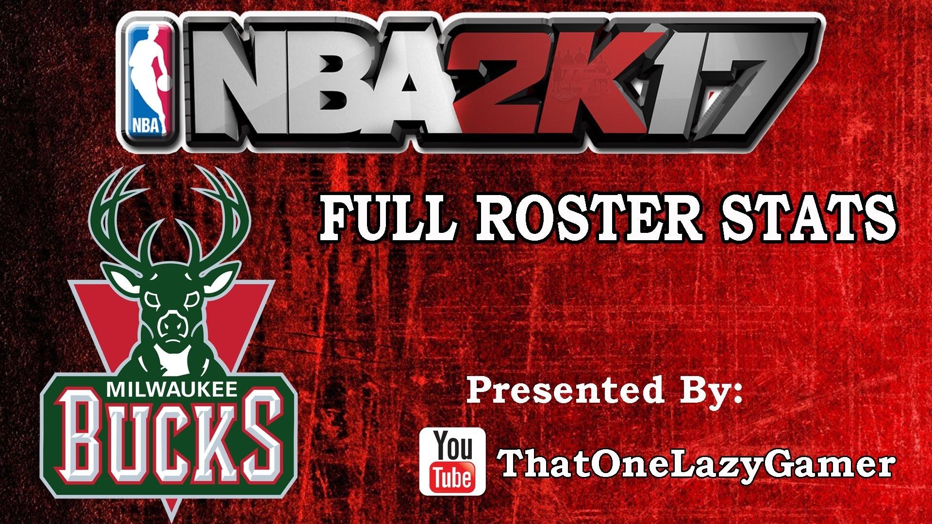"""NBA 2K17 """"Milwaukee Bucks"""" Full Roster stats"""