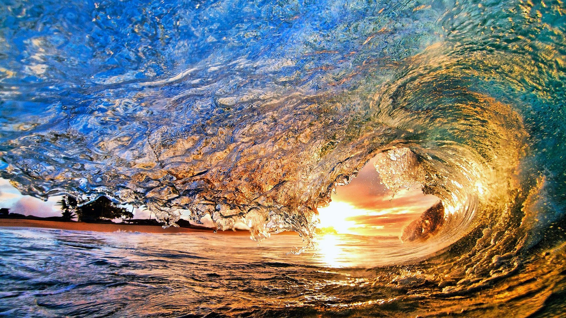 Surfing waves in sunset wallpaper