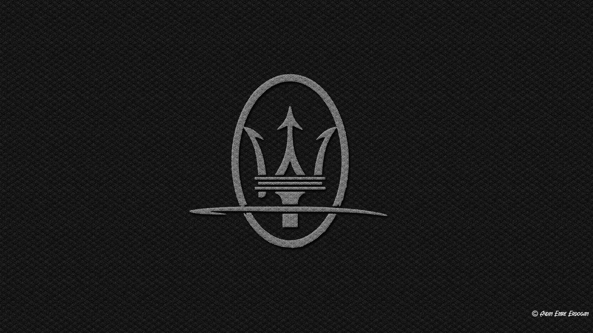 Maserati, Logo, Carbon Fiber, Black Background. Wallpaper Details
