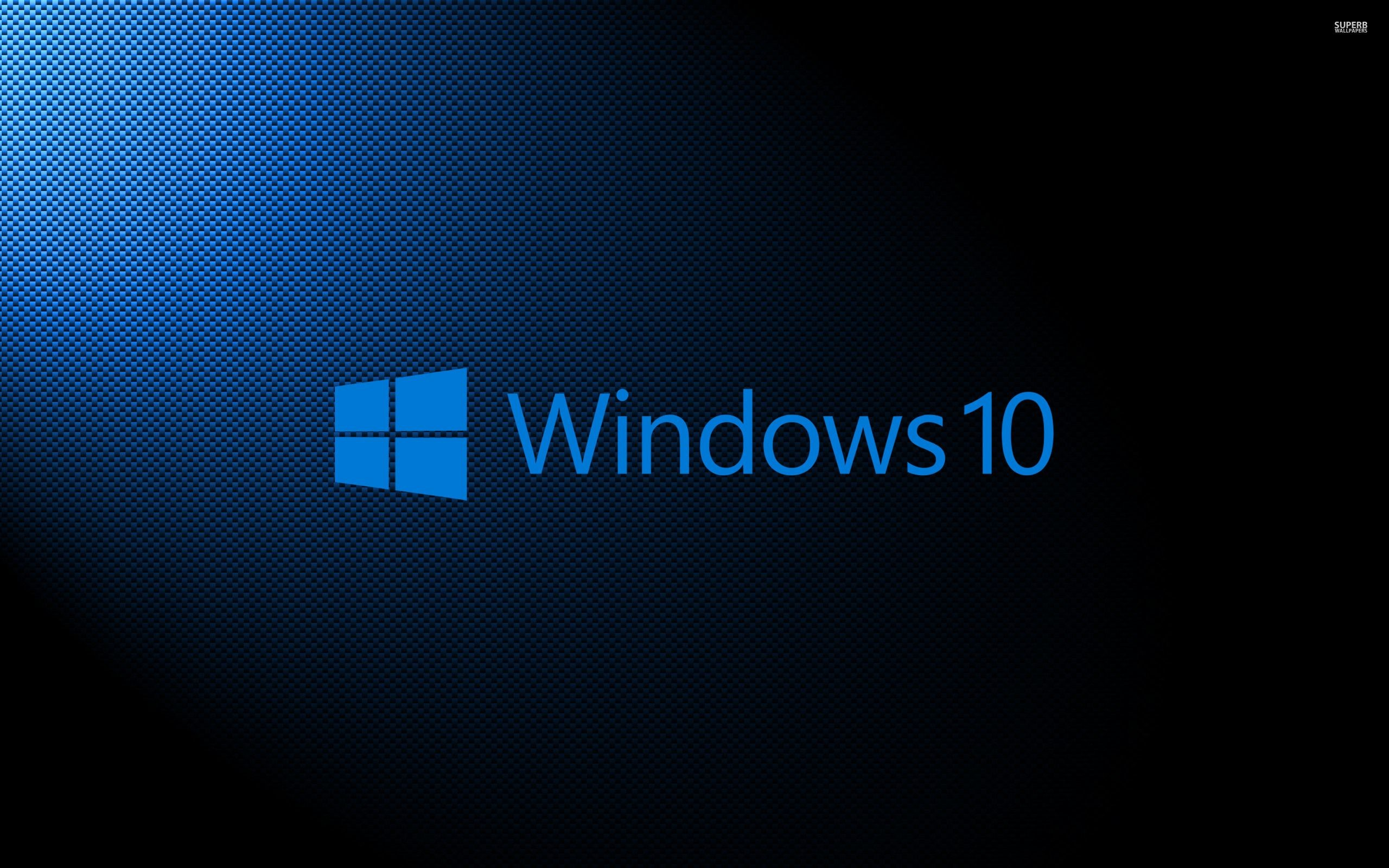 Windows 10 light blue text logo on carbon fiber wallpaper .