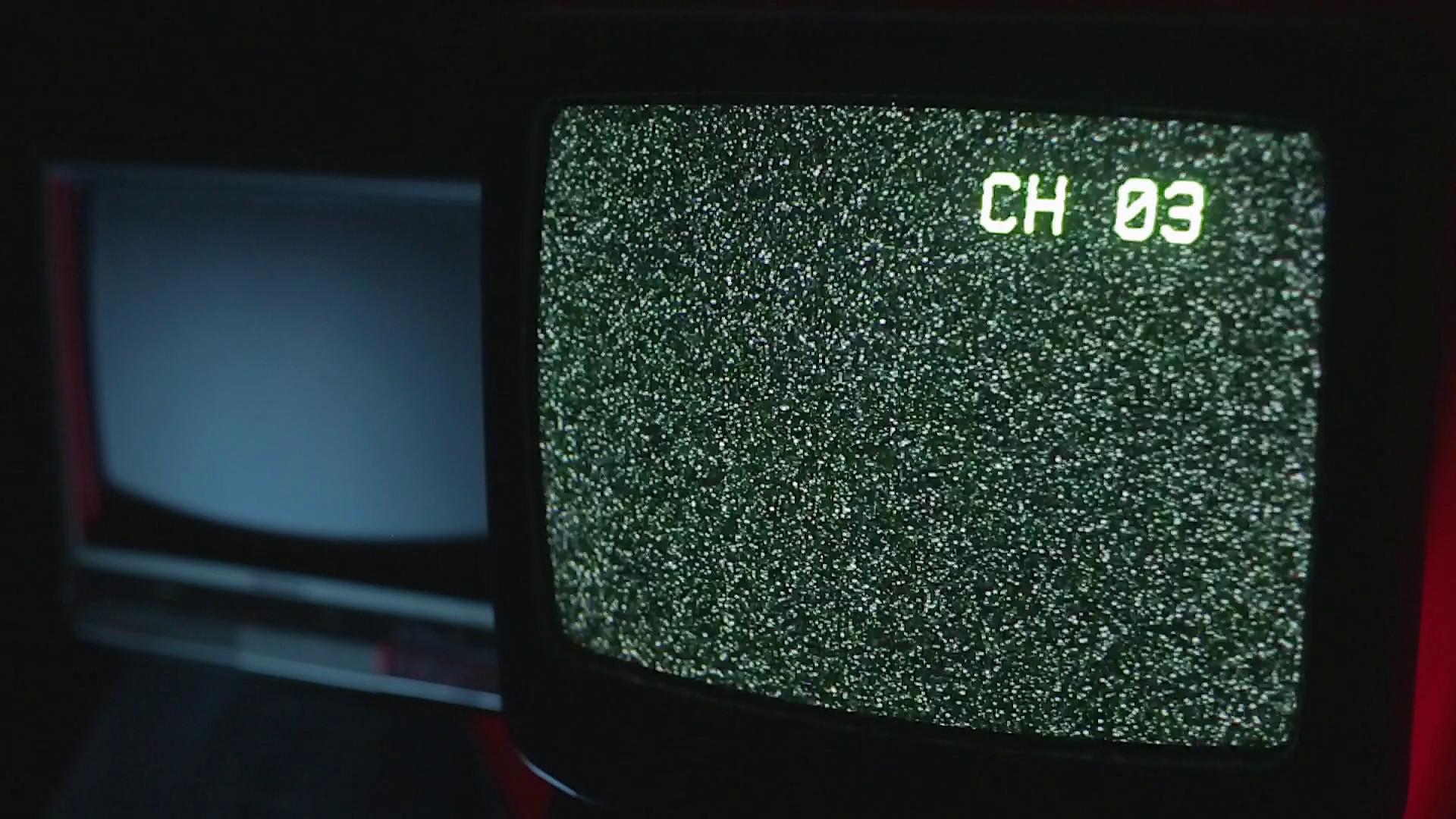 Retro TVs in a dark room | Static TV ON Stock Video Footage – VideoBlocks
