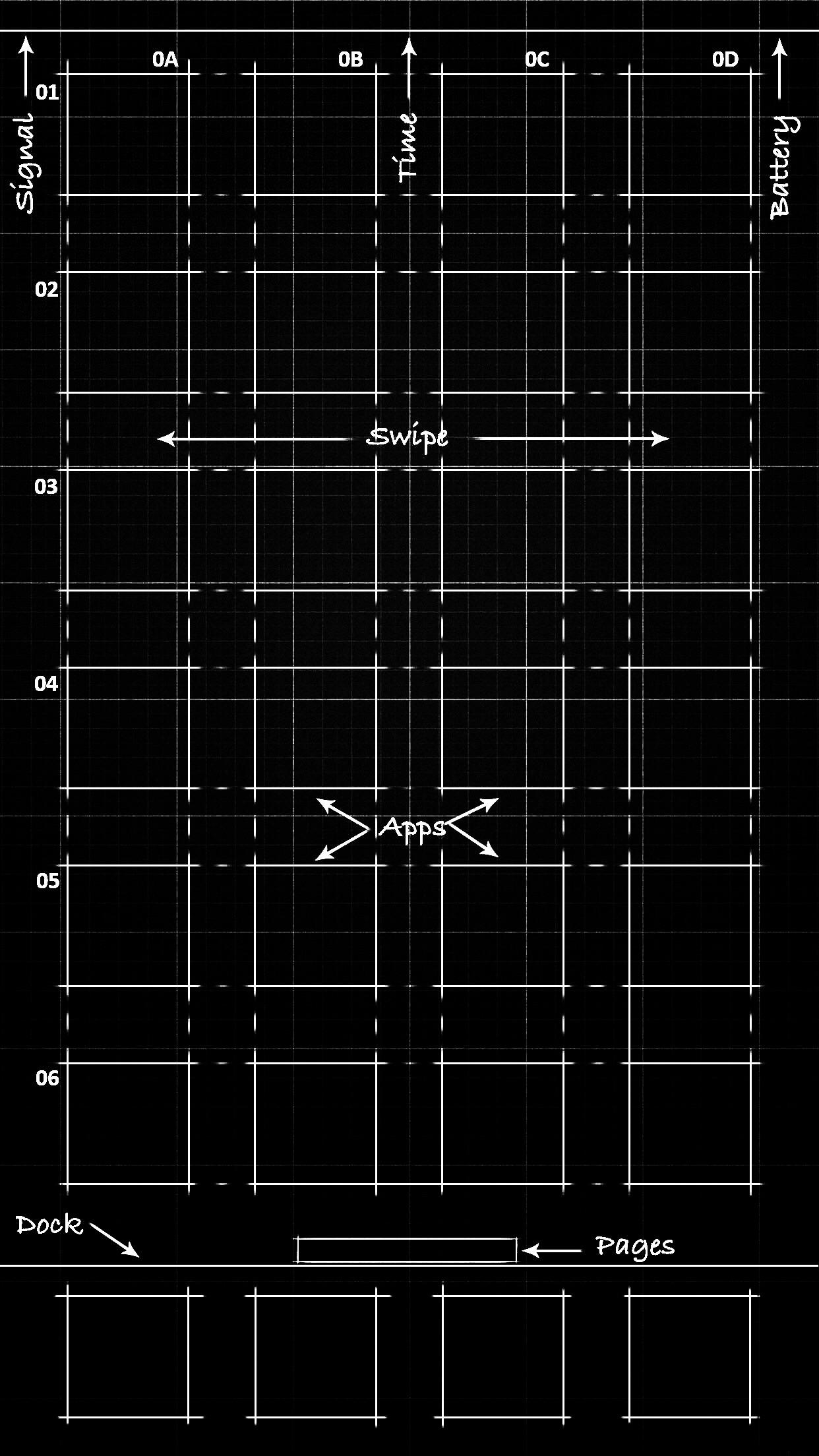 Black blueprint wallpaper 5.5-inch