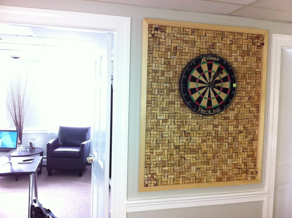Custom dart board frame with wine cork backing, located in our design  studio for brainstorming meetings at www.sixhalfdozen.com | Creativity |  Pinterest …