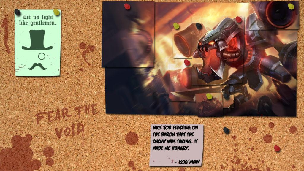 … League of Legends Cho'Gath Corkboard Wallpaper by SirShoop