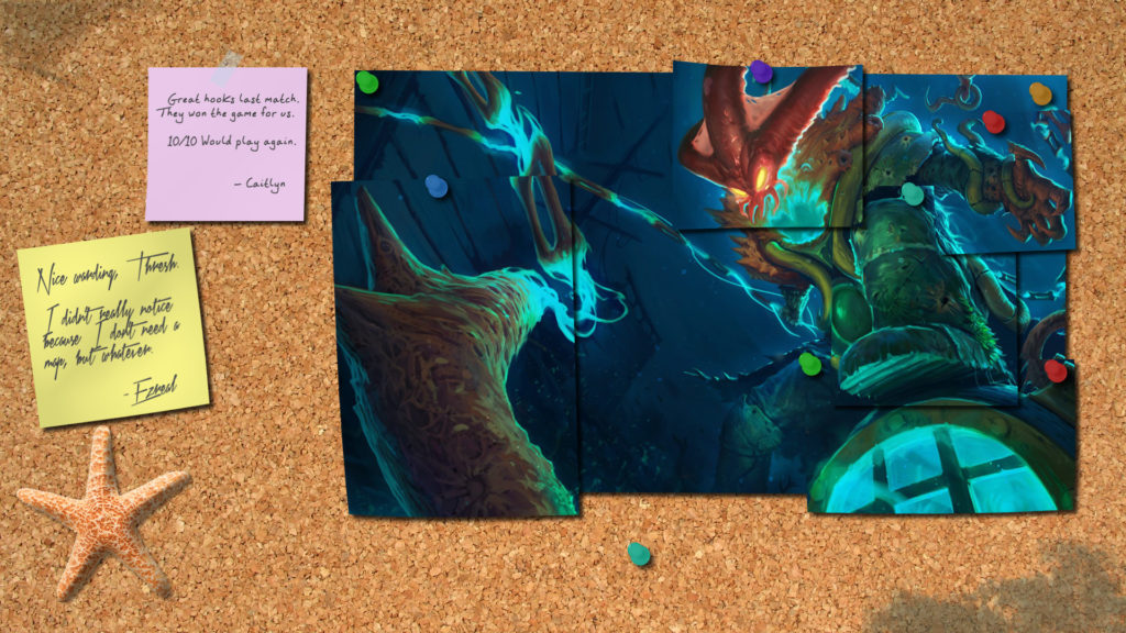 … League of Legends Thresh Corkboard Wallpaper by SirShoop