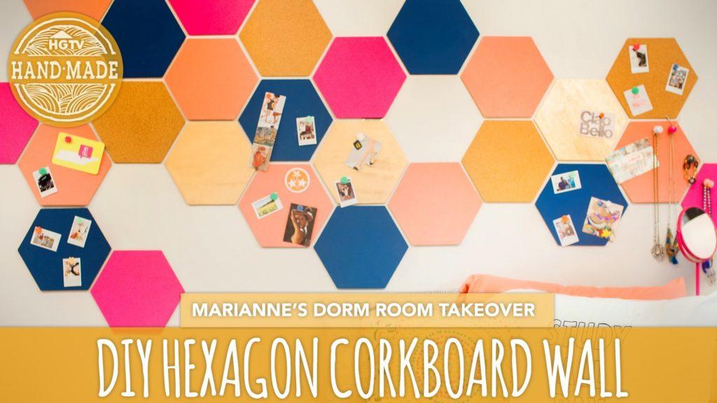 Back To School DIY: Hexagon Corkboard Dorm Decor – HGTV Handmade Dorm Room  Takeover – YouTube