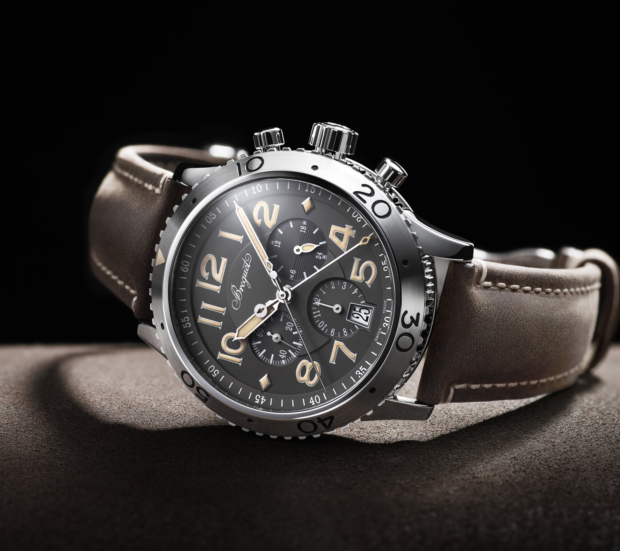 Breguet watch with brown leather strap Wallpaper