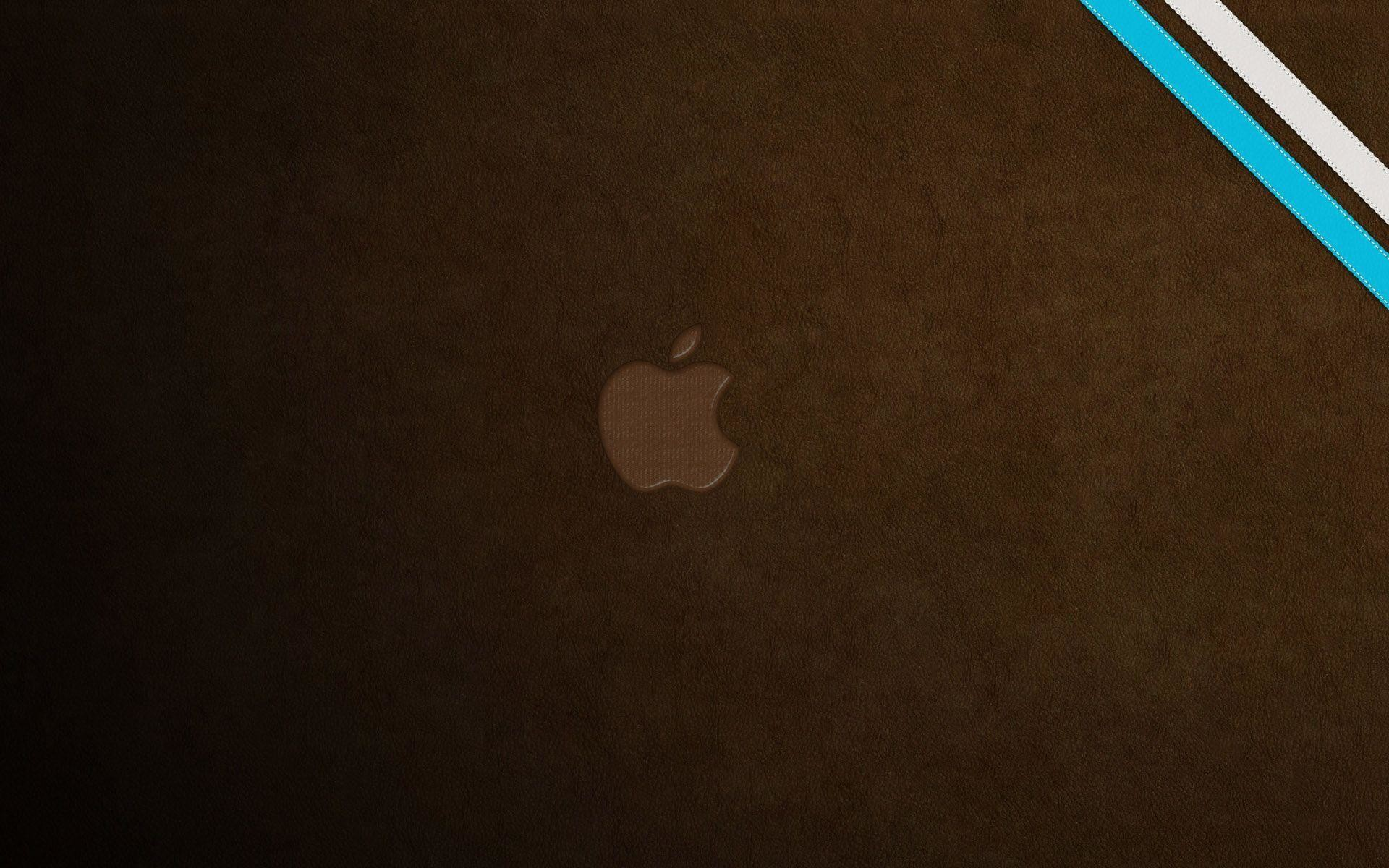 Free Wallpapers – apple logo mark on brown leather wallpaper