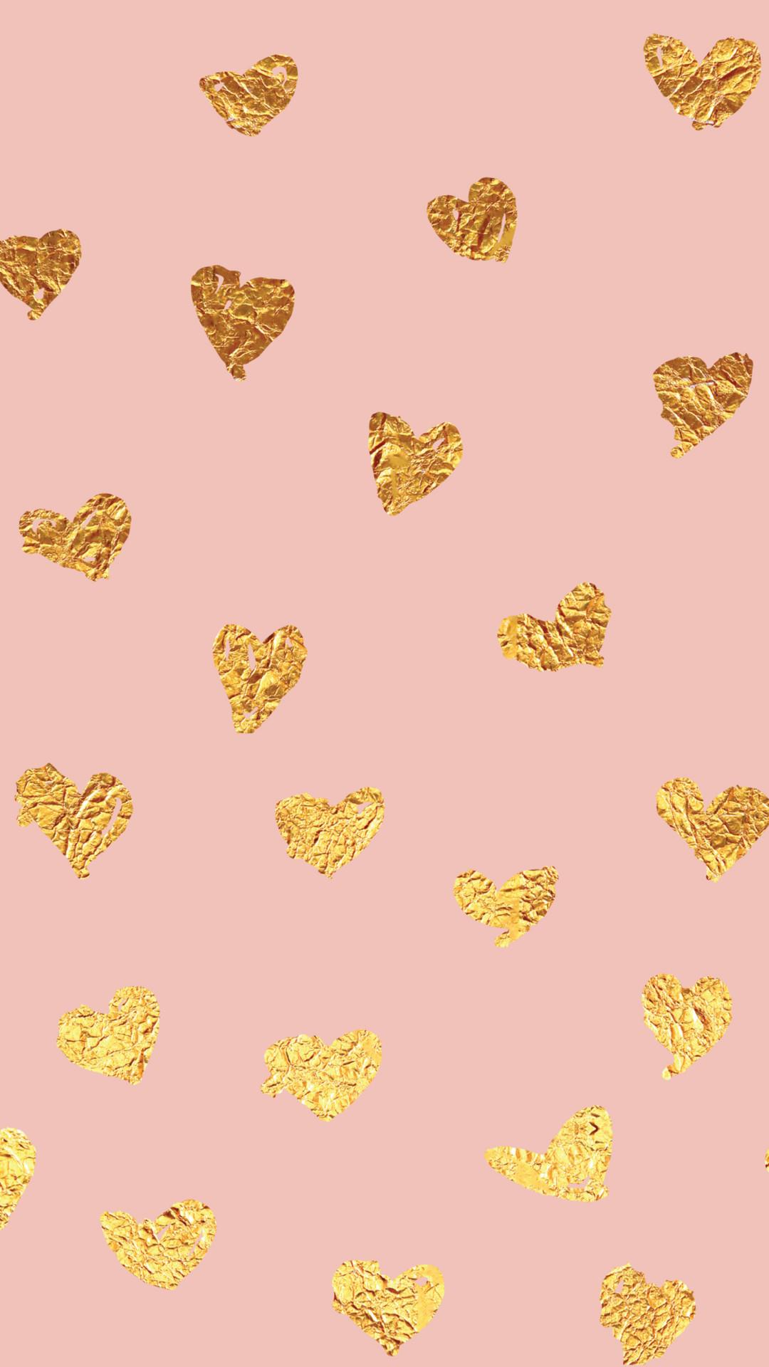Click to download pink foil heart smart phone wallpaper.