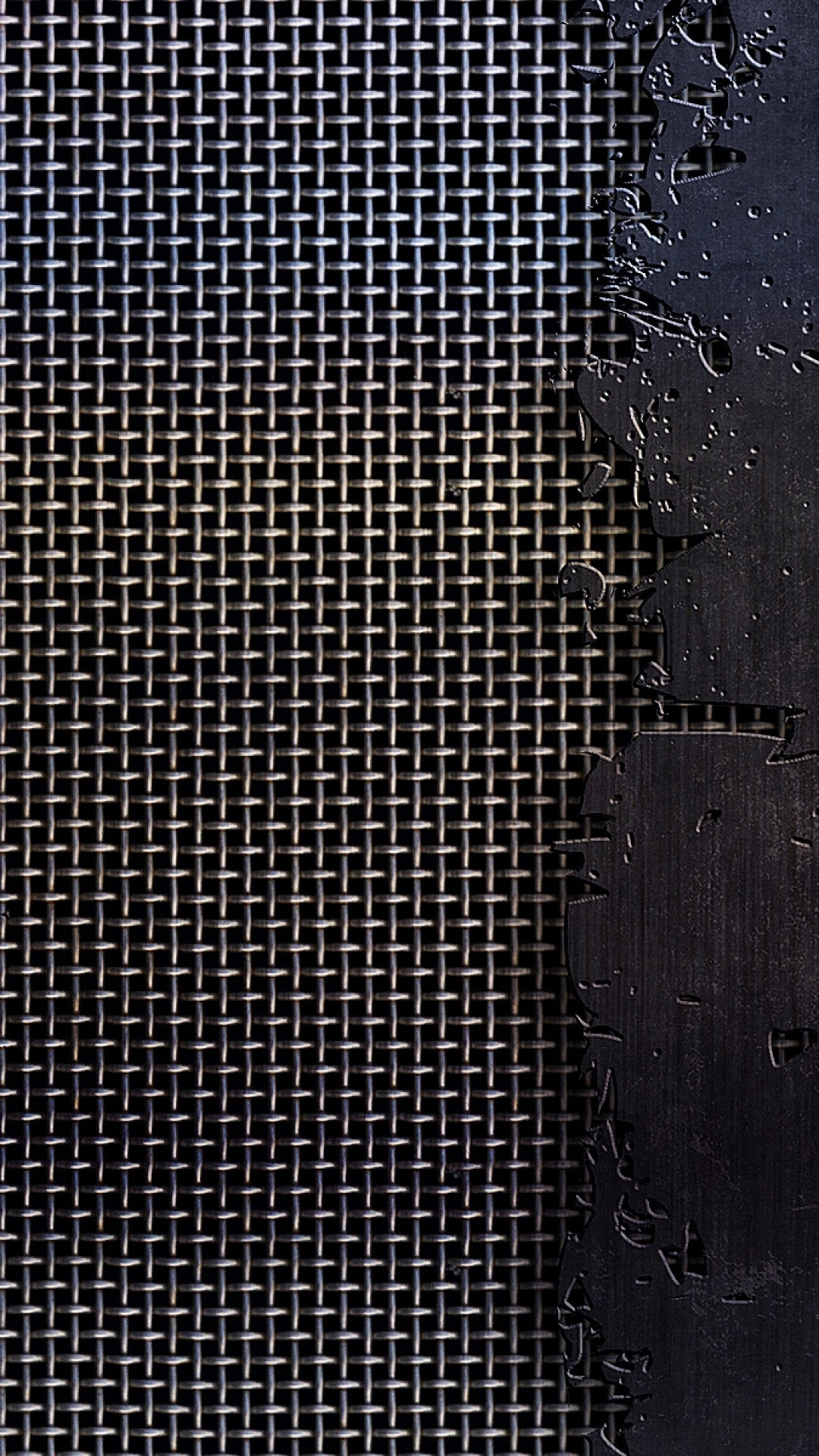 Wallpaper metal, mesh, cracks, scratches, black and white, texture