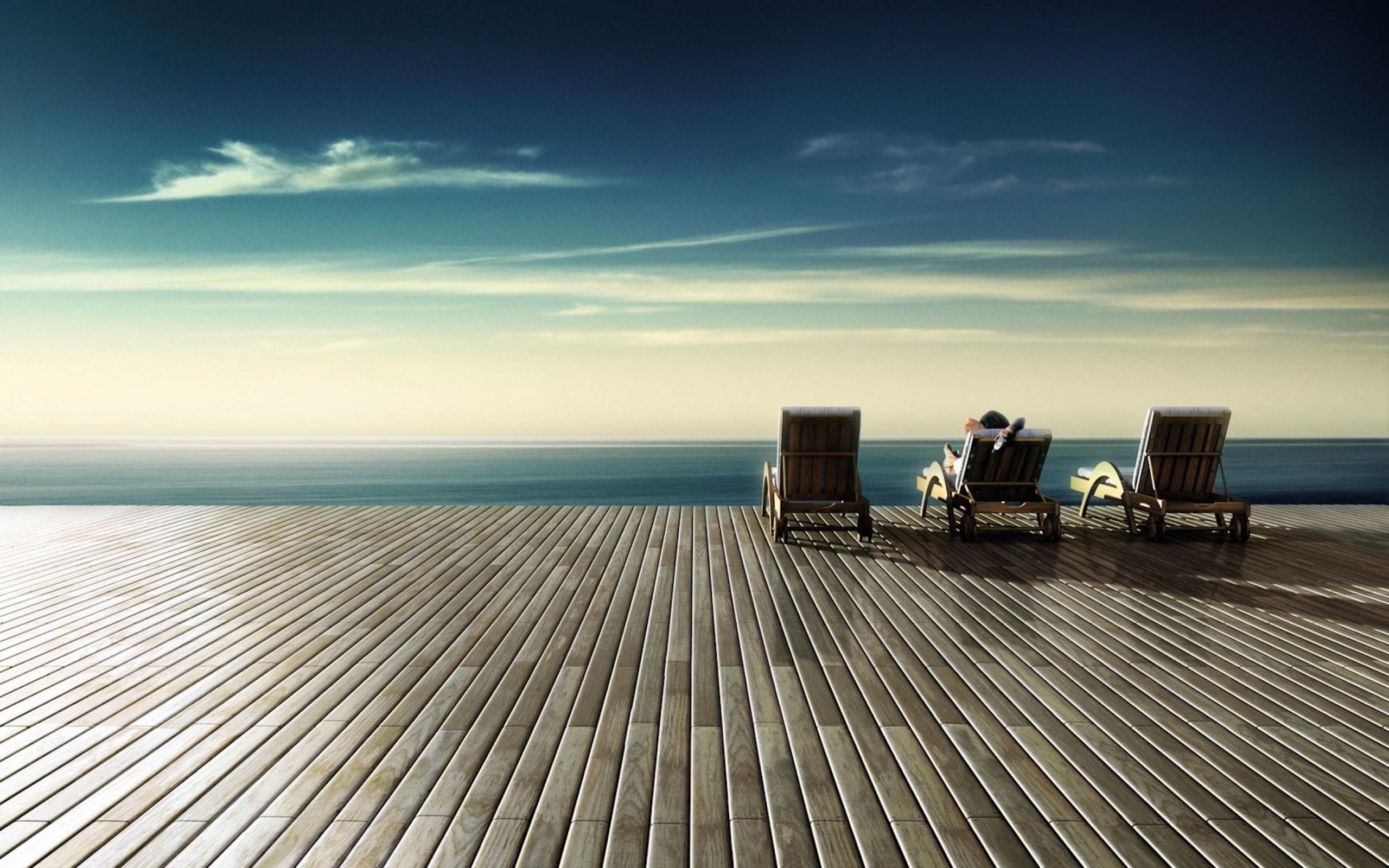 Wallpaper chairs, wood floor, rest, sky, shore