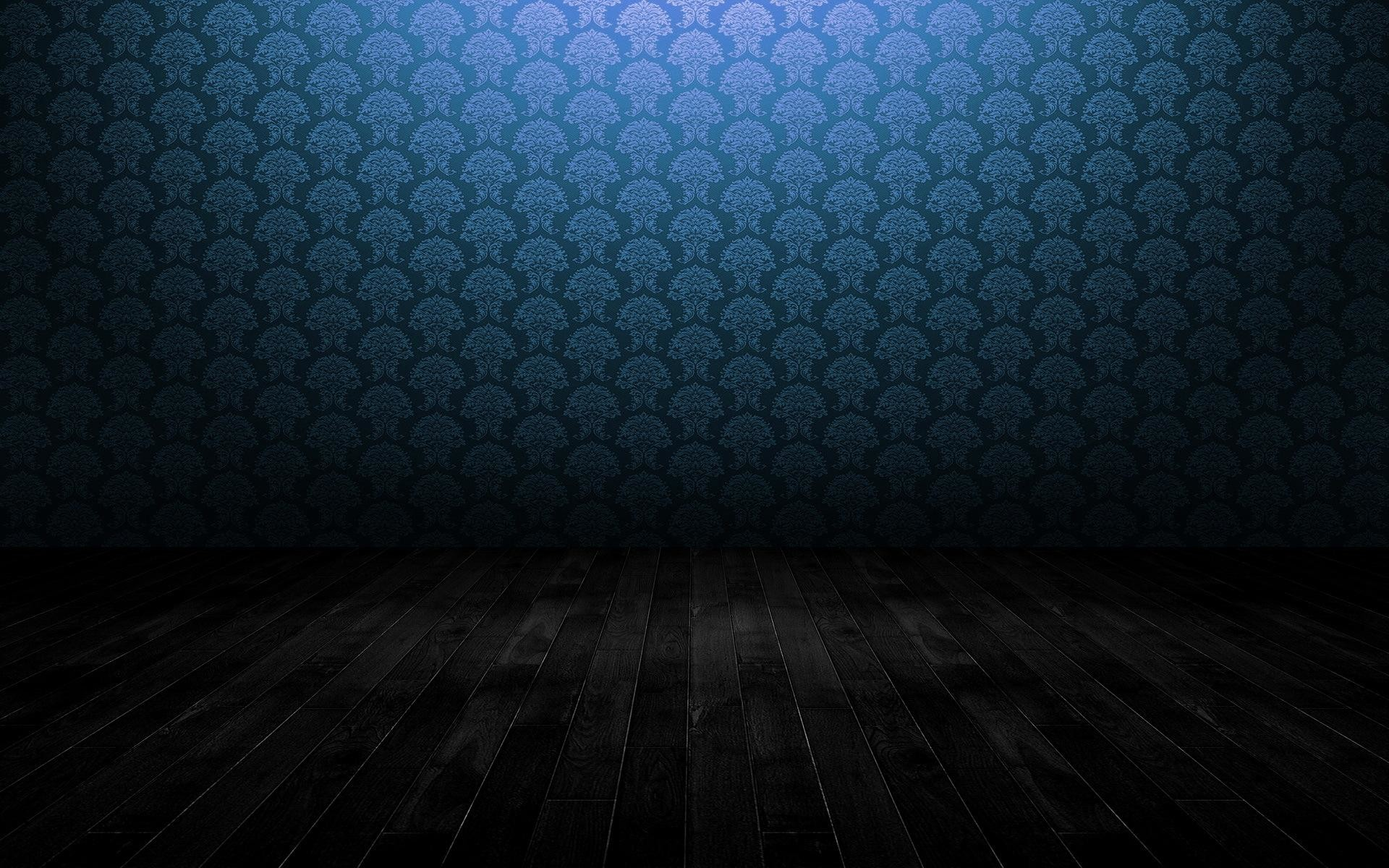 HD Blue pattern wall and wooden floor Wallpaper