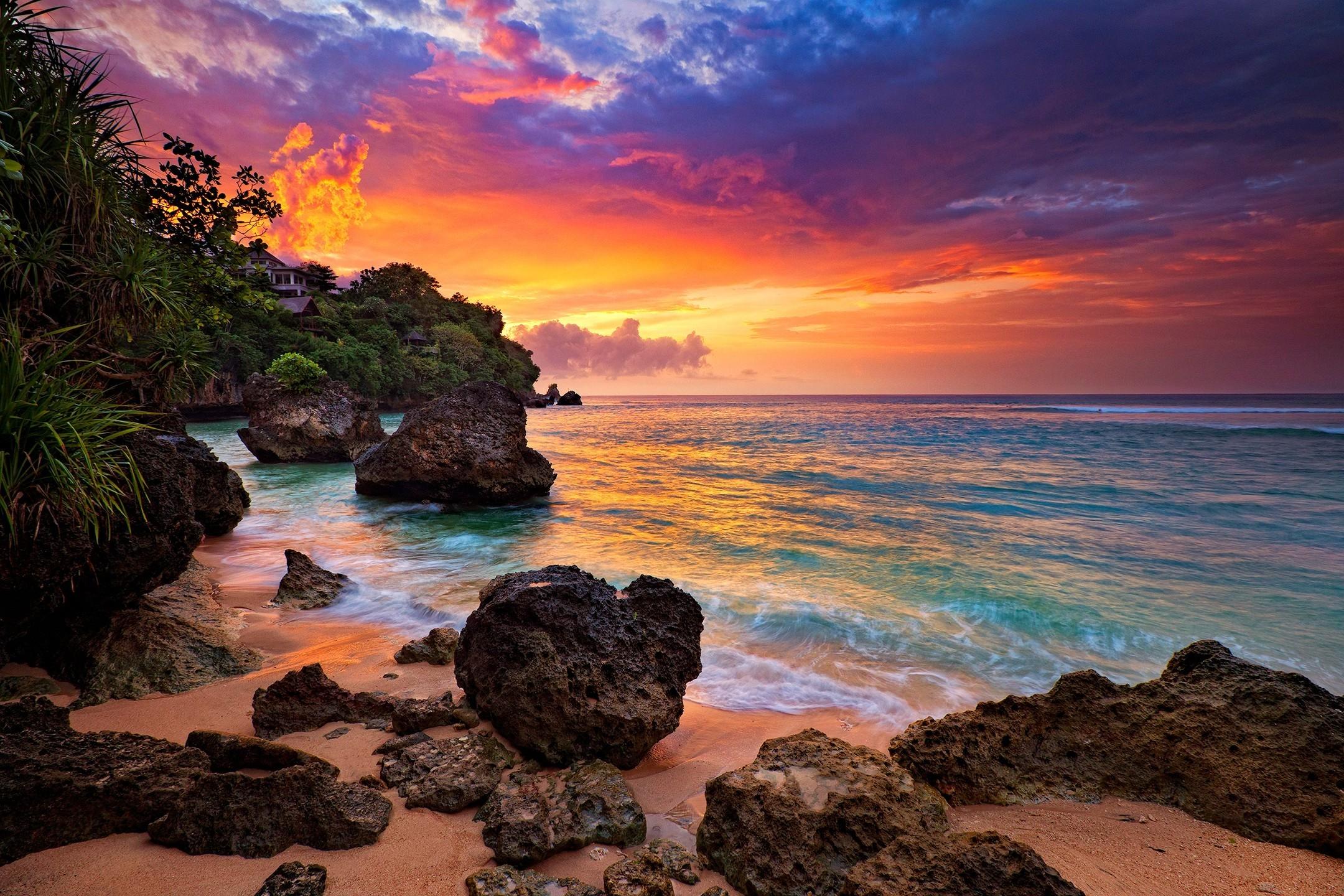 Beach Sky Sunset Rocks Clouds Hidden Ocean Bali Trees Waves Sand Indonesia  Island House Beautiful Beaches