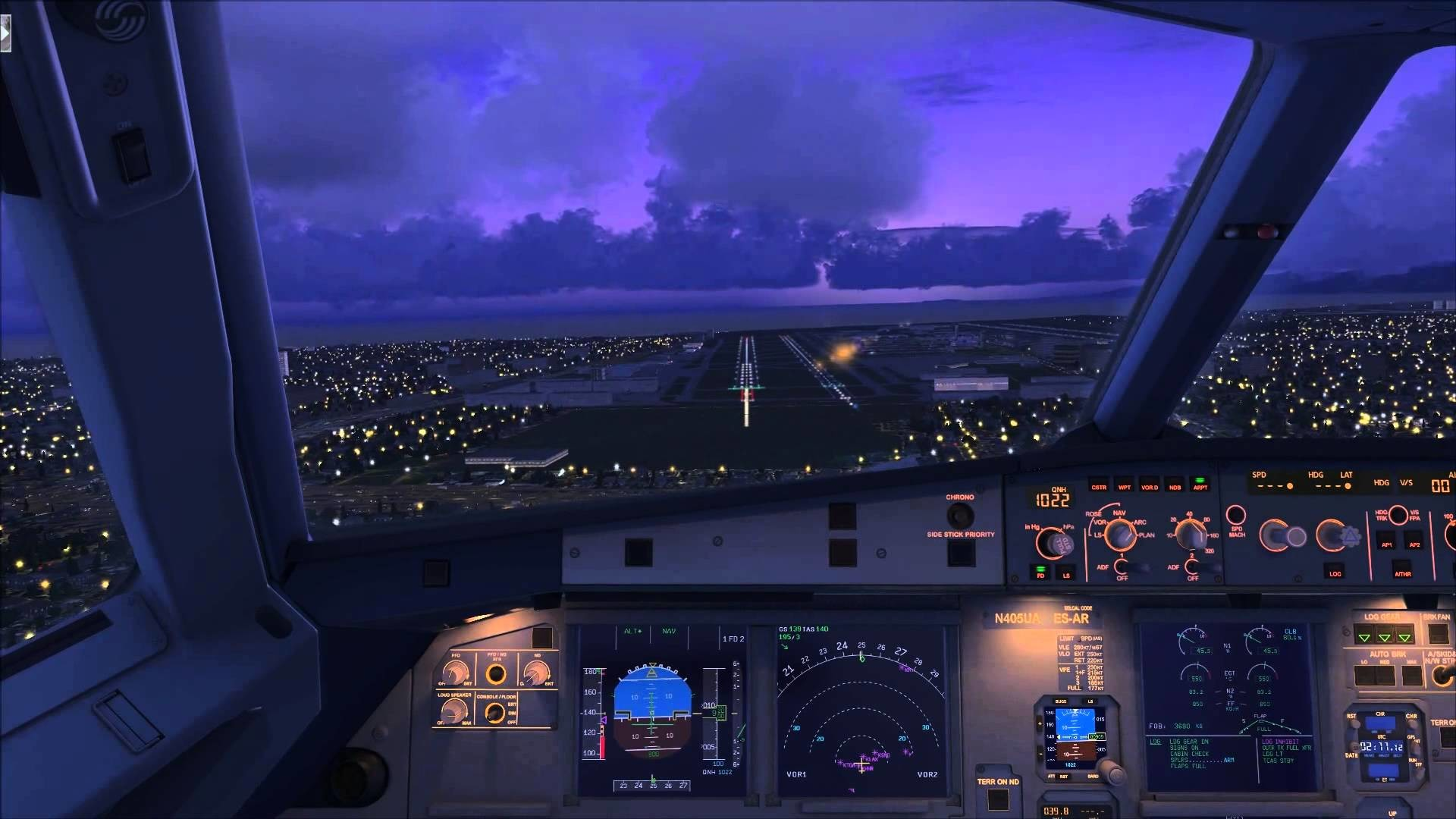 Cockpit Approach Los Angeles Airbus A320