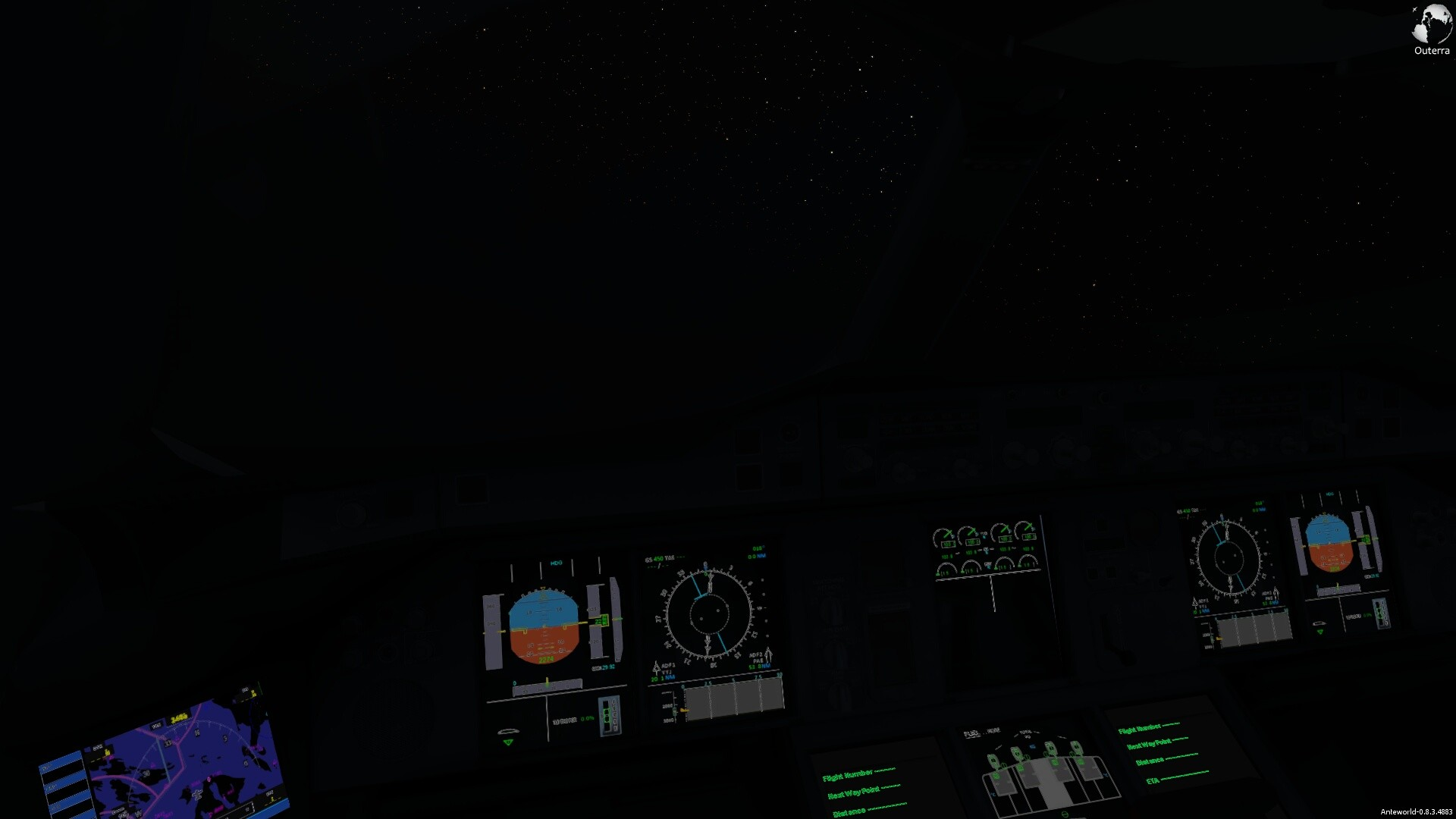 I upgraded the A380 cockpit for night operations.