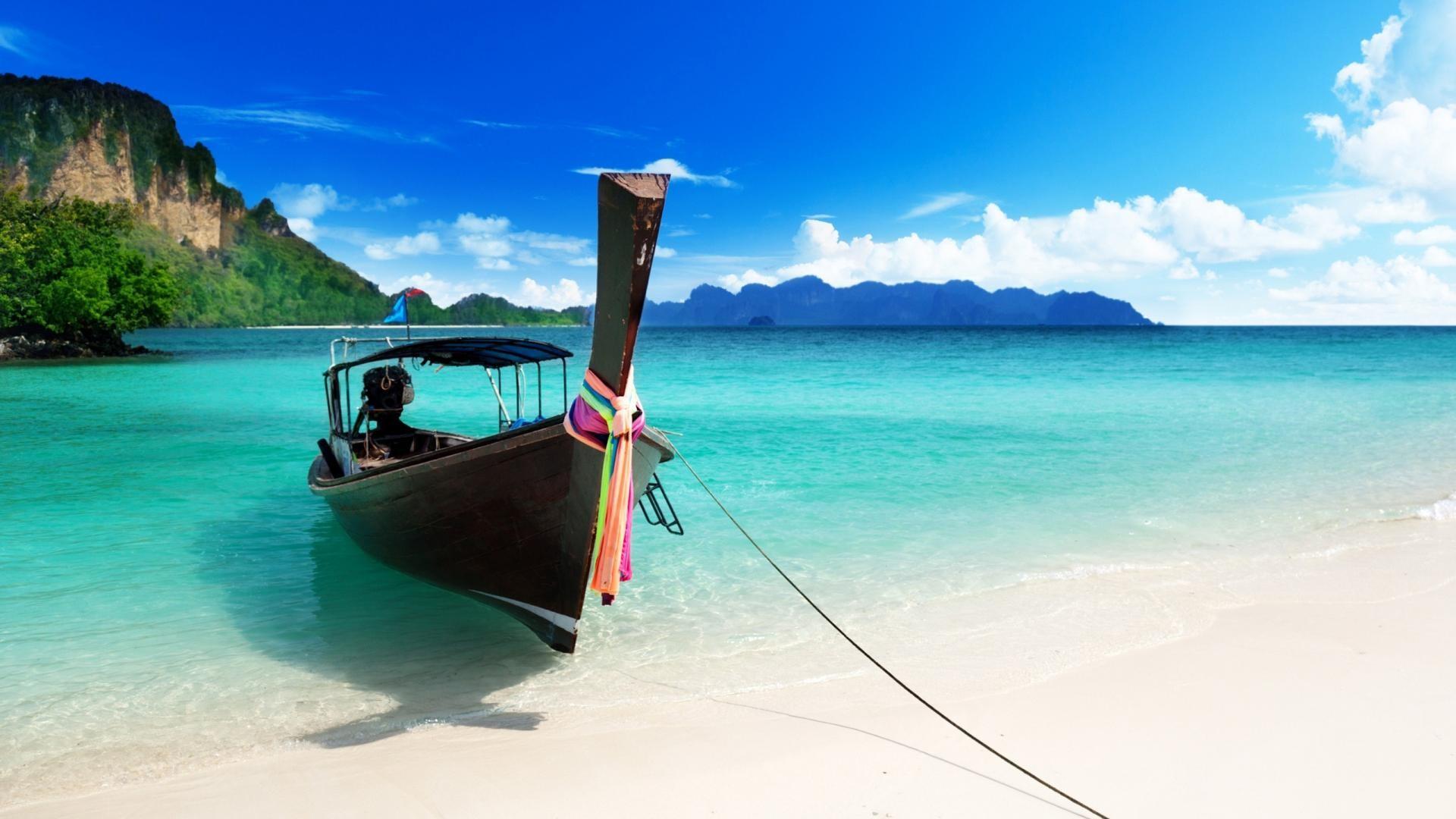 Beach Boat Hd Wallpaper