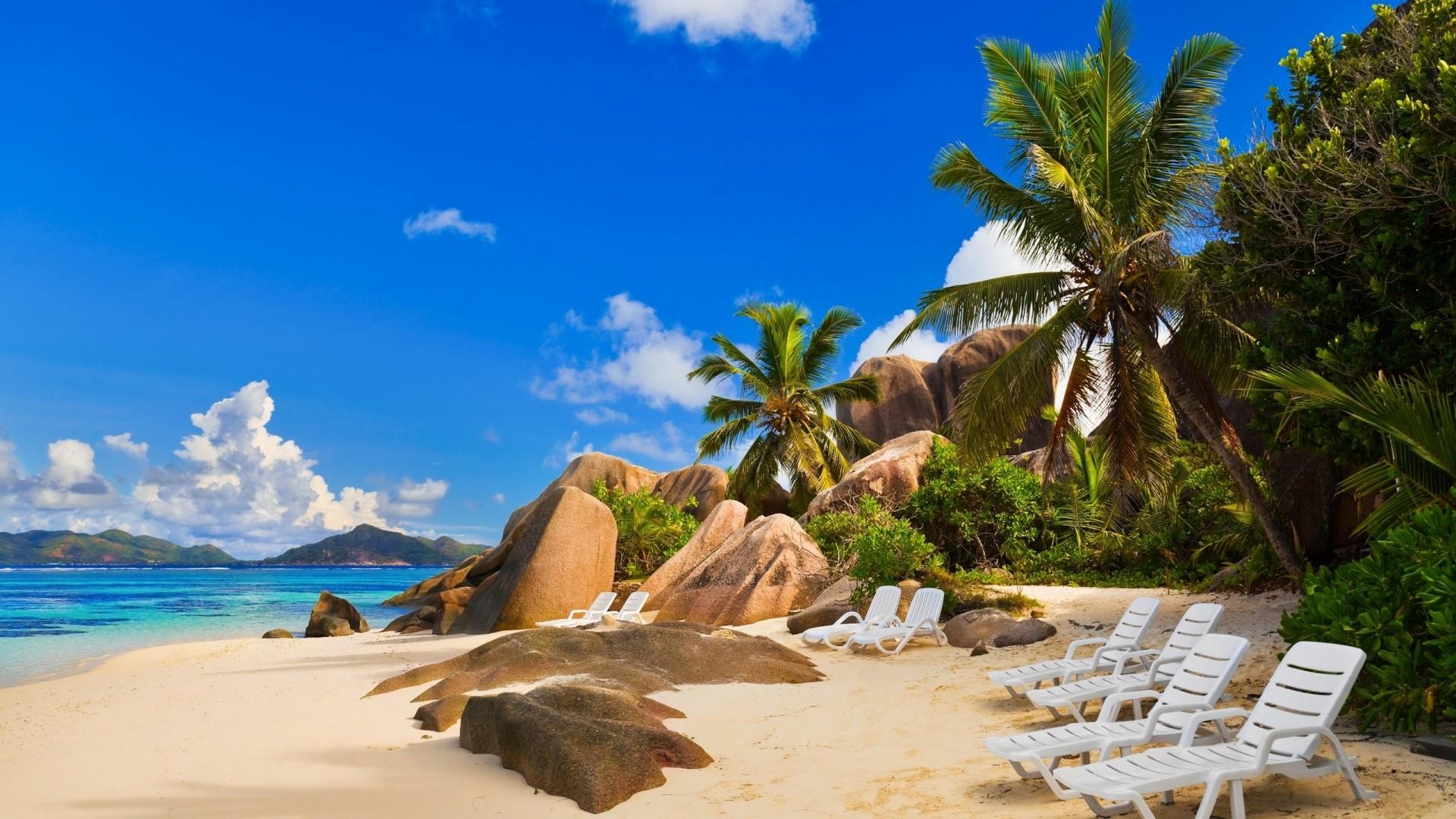Wallpaper beach, palm trees, sky, island, coast, resort, relax
