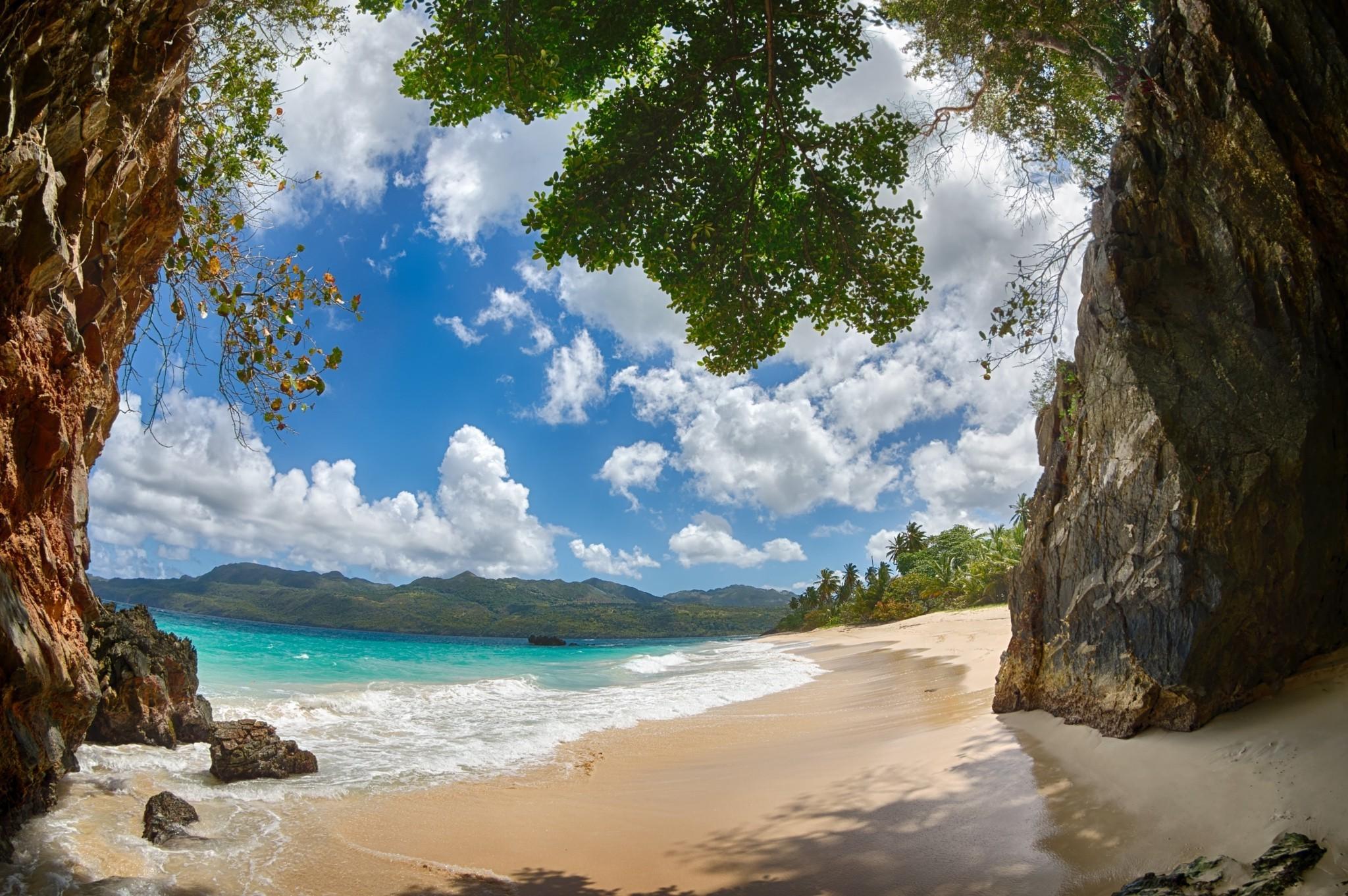 beach, Tropical, Sand, Mountain, Caribbean, Palm Trees, Clouds, Rock