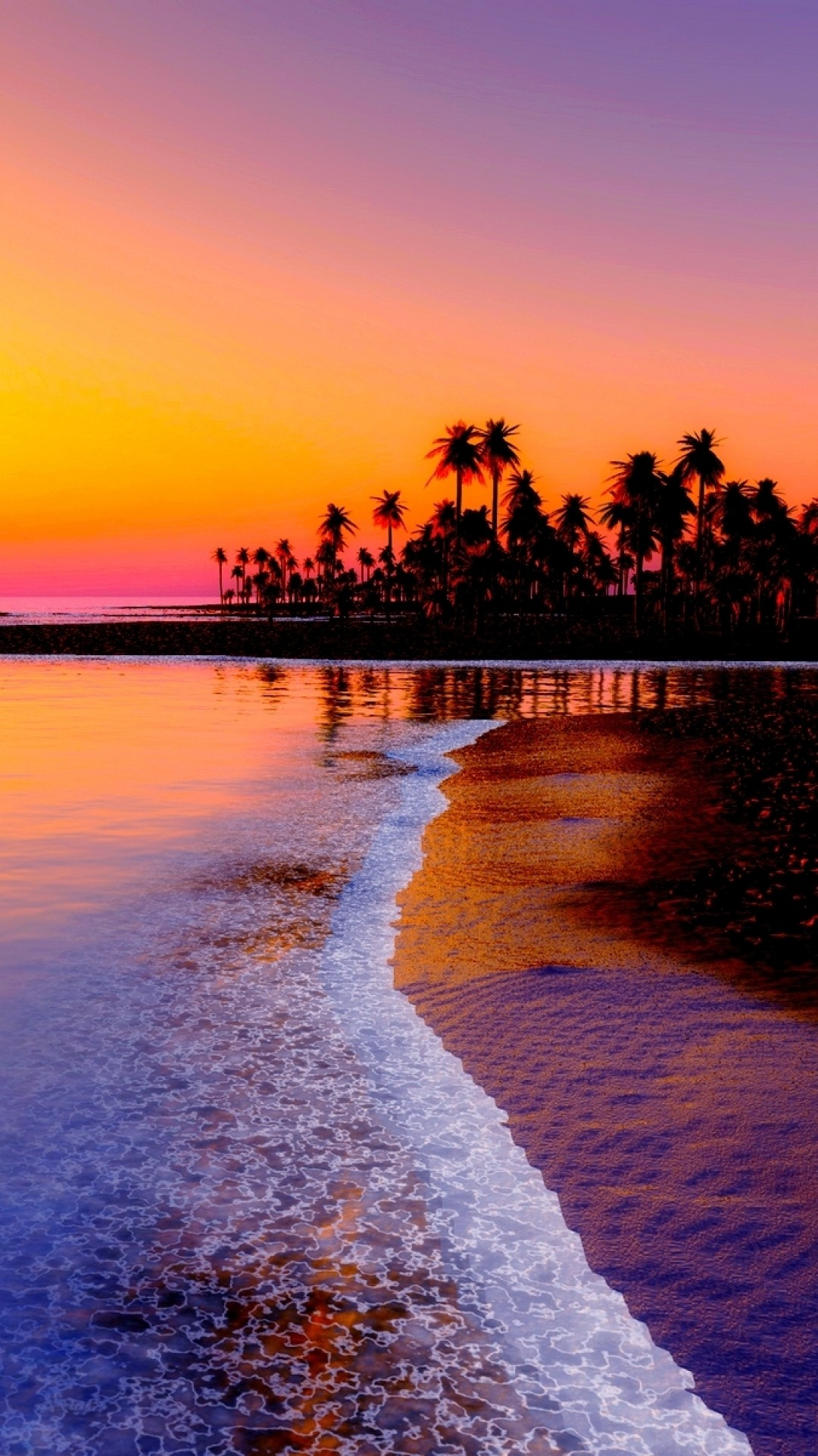 Preview wallpaper beach, tropics, sea, sand, palm trees, sunset 1080×1920