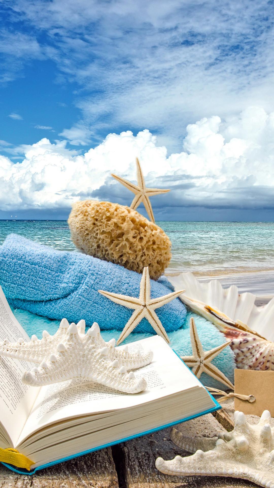 Summer Beach Book Seashells Sea Stars iPhone 6 Plus HD Wallpaper