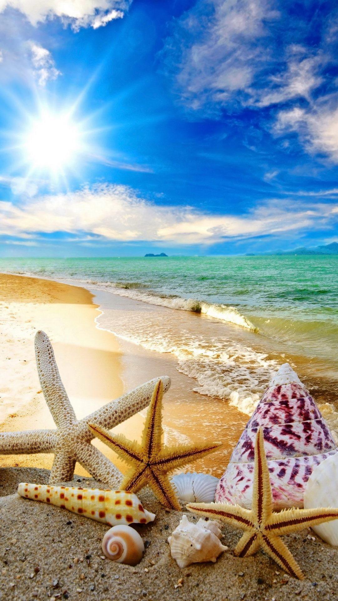 Summer Beach Sun Starfish Waves android wallpaper HD