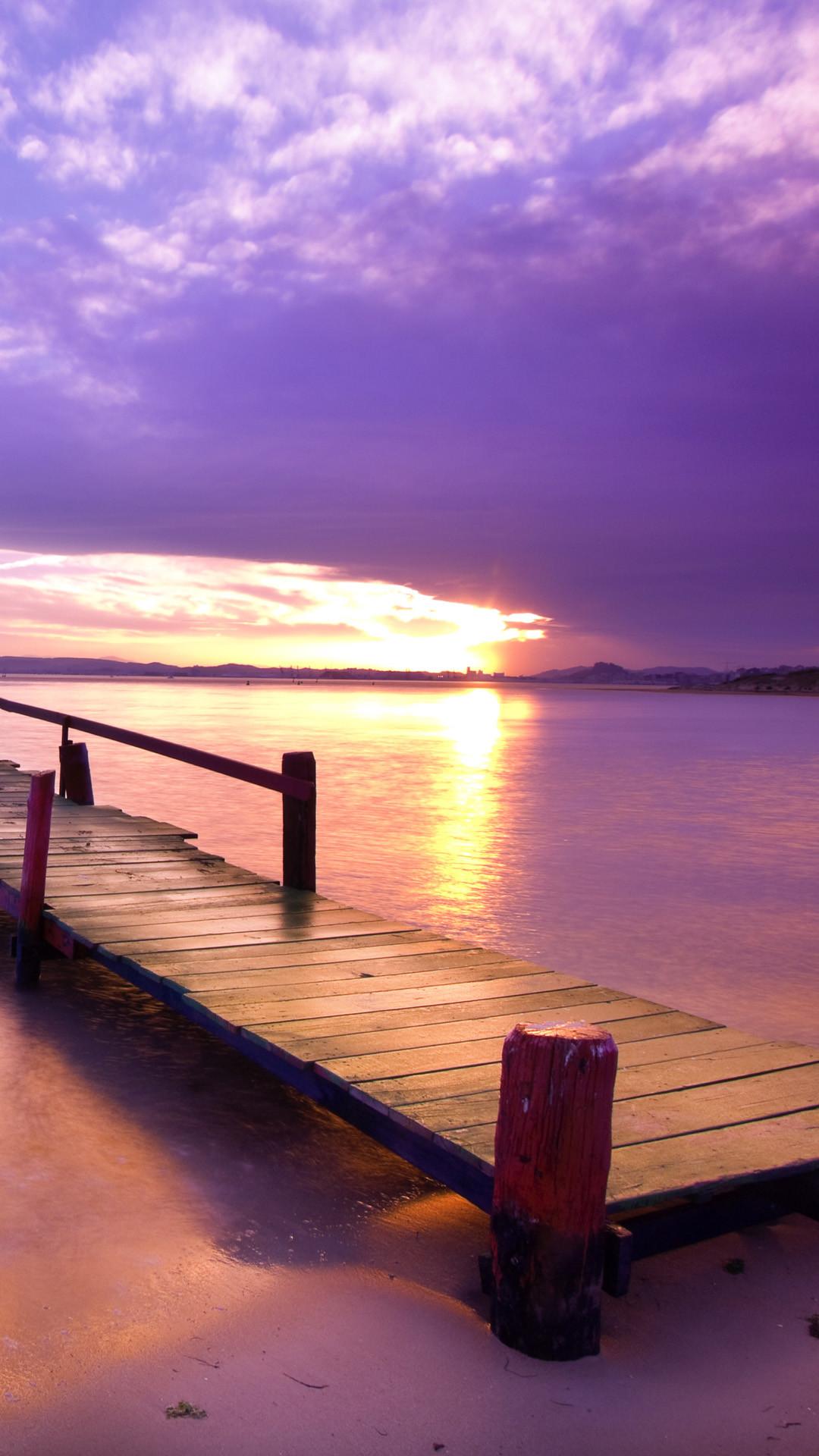 Purple Dusk Beach Corridor Bridge iPhone 6 wallpaper