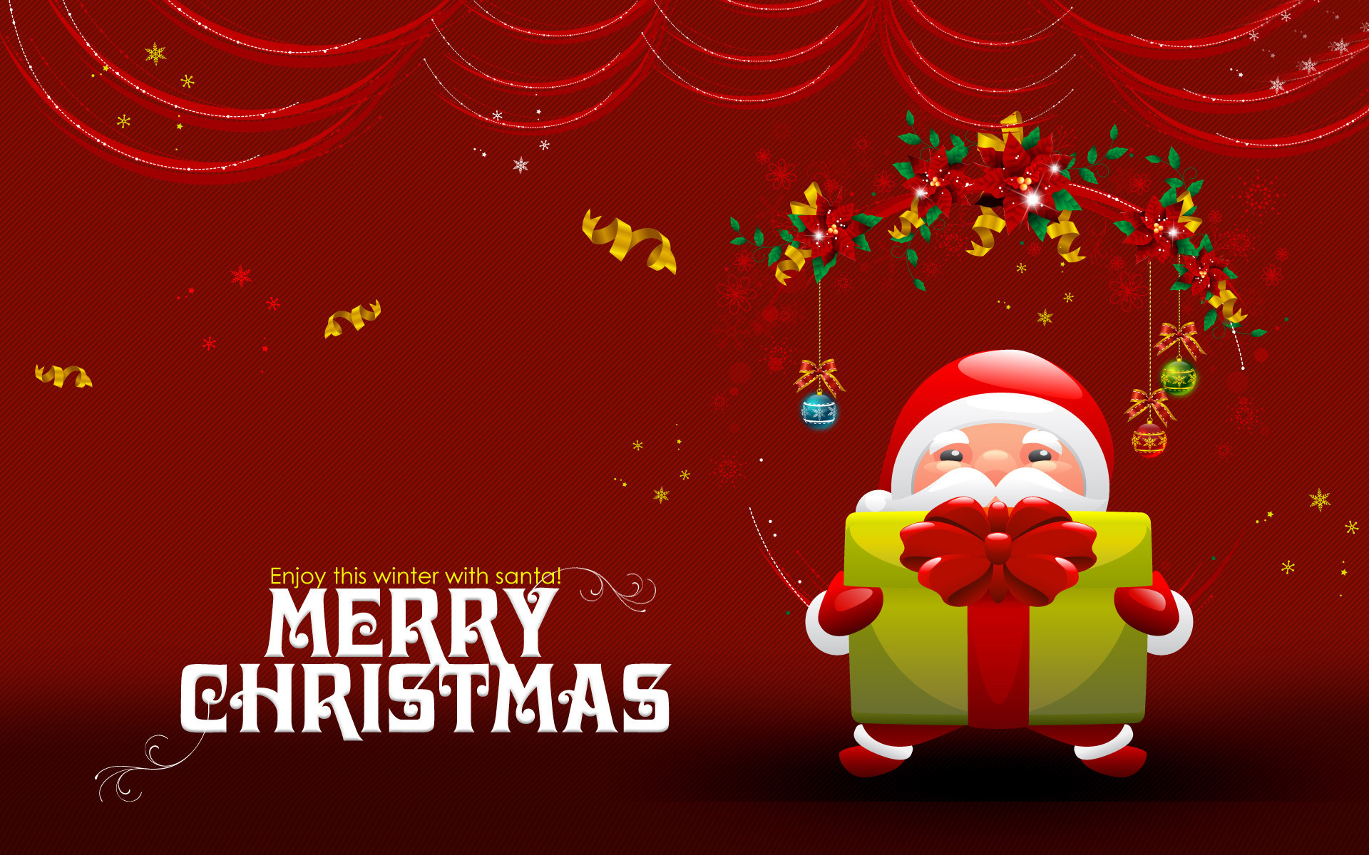 Cute Merry Christmas Red Background Wallpaper Desktop Wallpaper with .