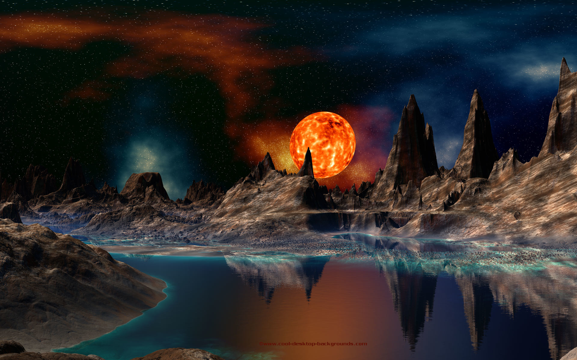 Space background of a red giant sun setting over a rocky alien planet.  Scifi space background for use as your computer's desktop wallpaper.