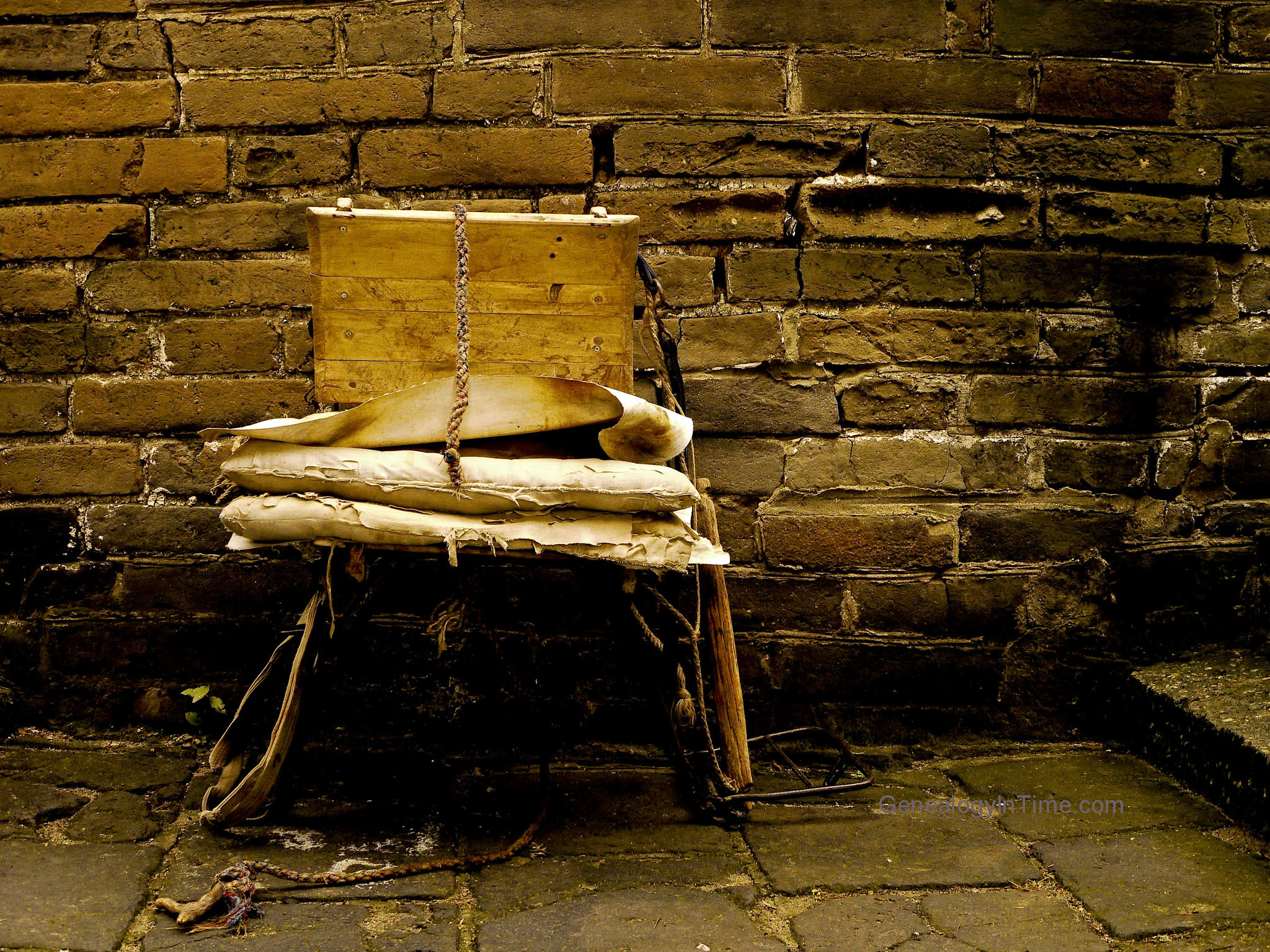vintage chair and brick wall at Great Wall of China