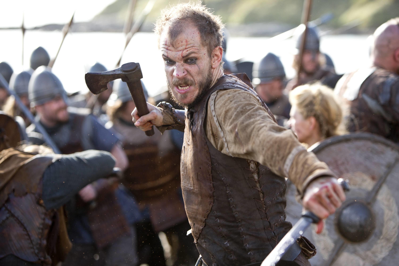 Floki (Gustaf Skarsgard) fighting in battle in VIKINGS tv series on the History  Channel