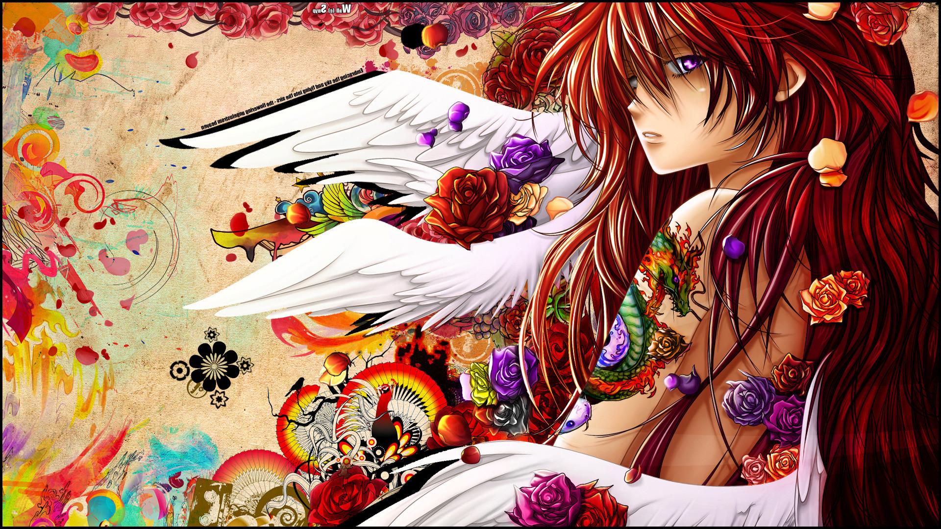 anime, Angel, Snyp, Original Characters, Redhead, Purple Eyes, Digital Art.  wolf, Anime. Super Sonico …