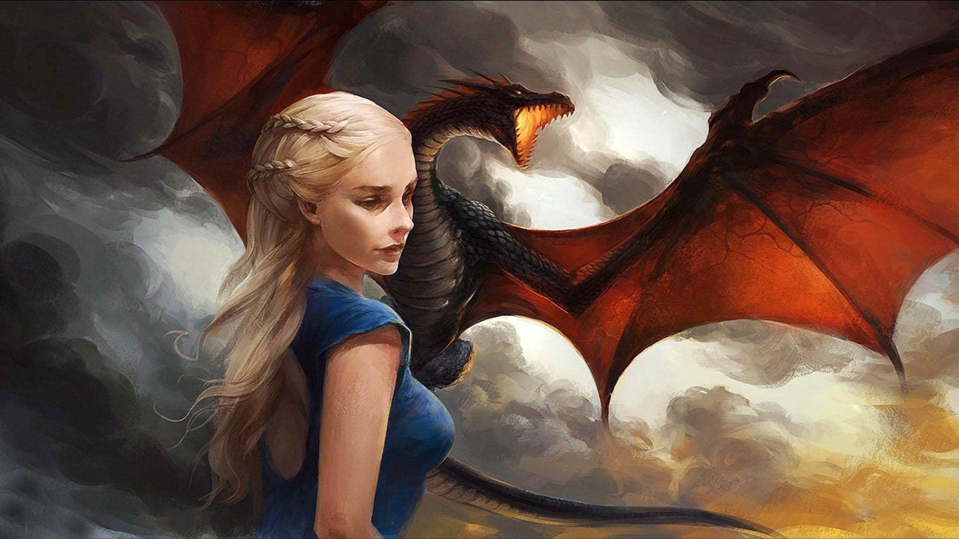 Daenerys Targaryen with Dragon Painting wallpaper