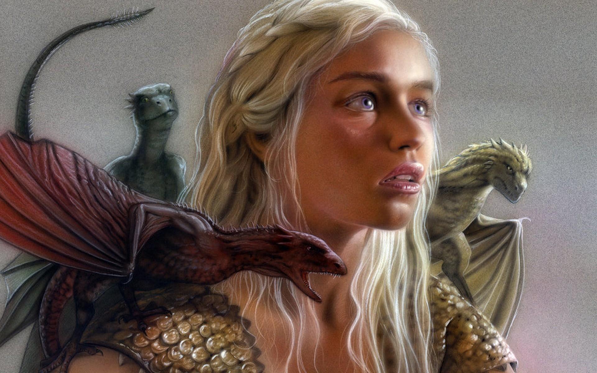Game of Thrones Game of thrones Daenerys Targaryen Emilia Clarke HBO Series  series dragon dragons fantasy wallpaper background