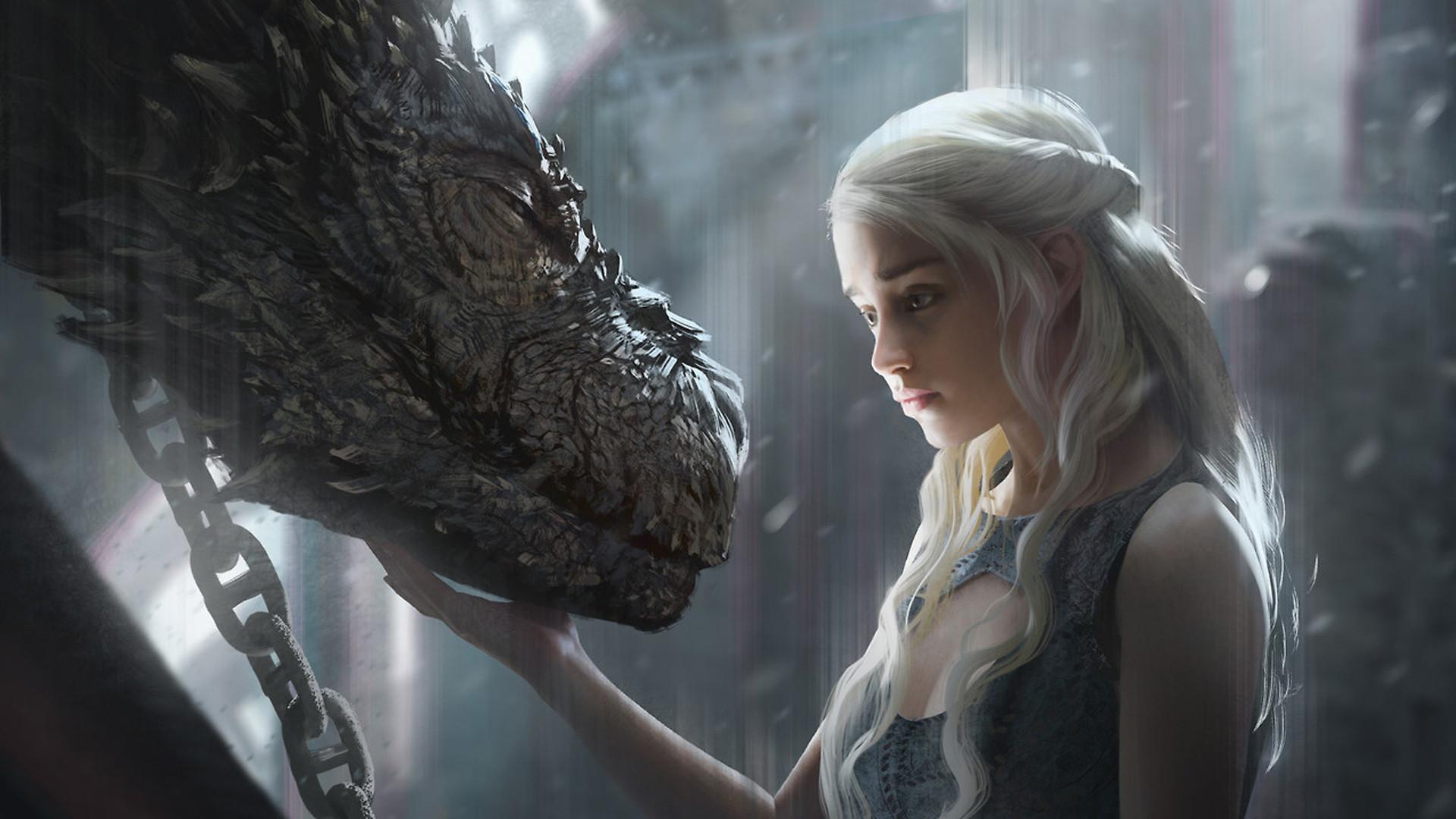 Daenerys Targaryen With Dragon Artwork hd Wallpaper