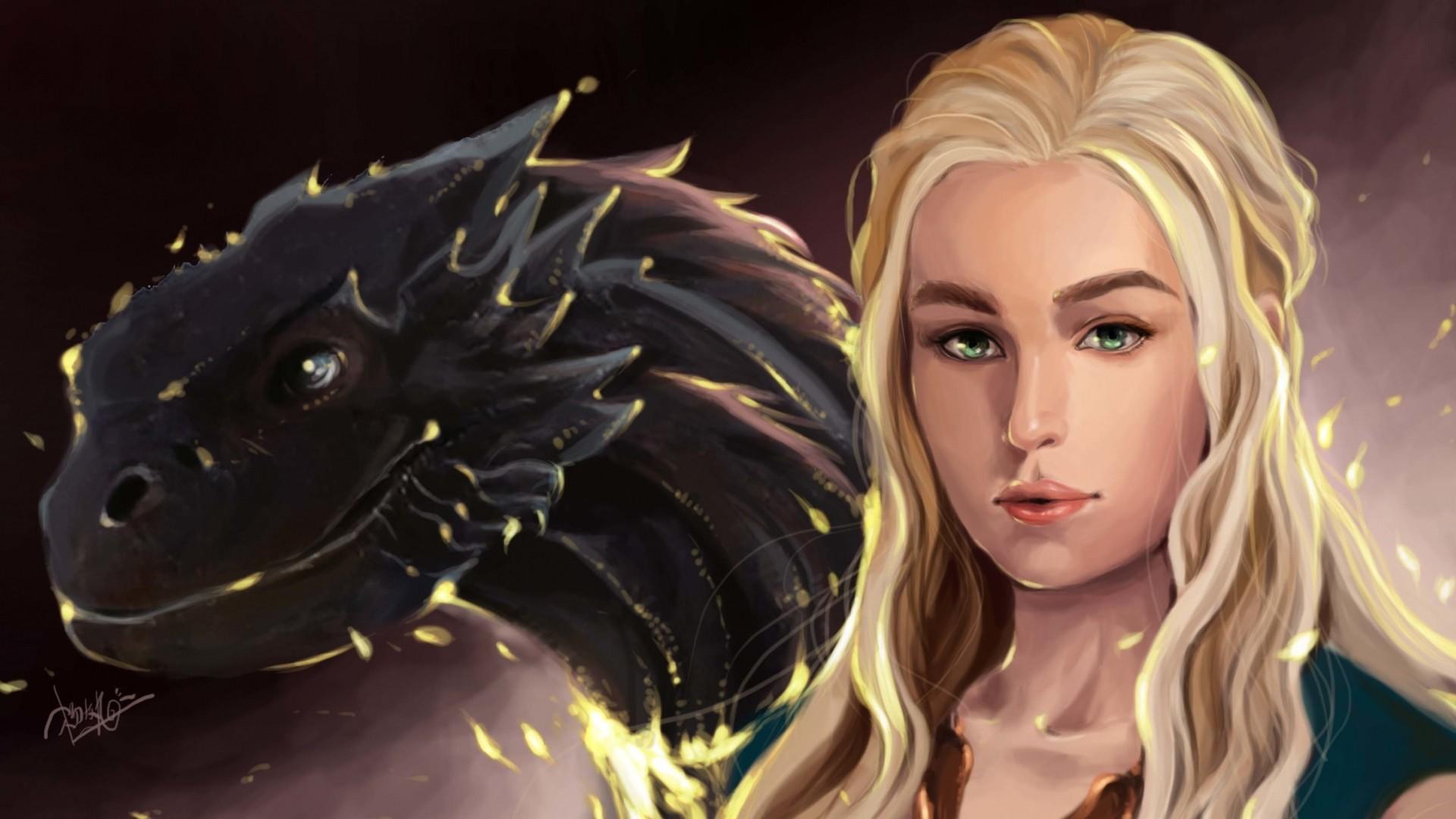 Wallpaper game of thrones, daenerys targaryen, dragons