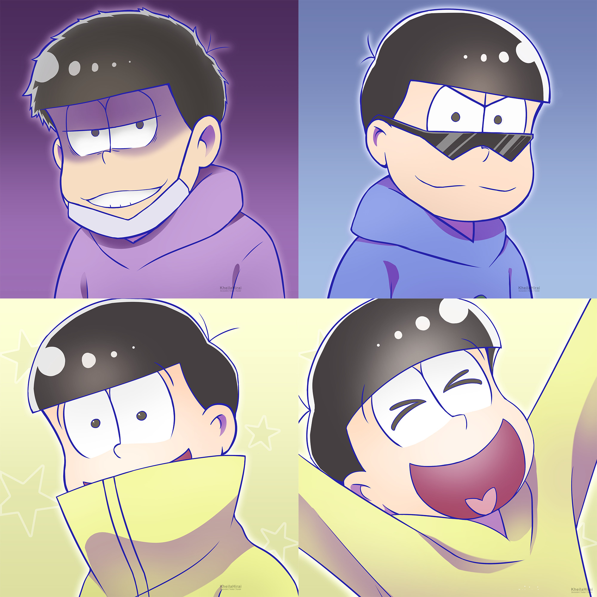 … [Osomatsu-san] Ichi, Kara and Jyushimatsu Icons by KheilaHirai