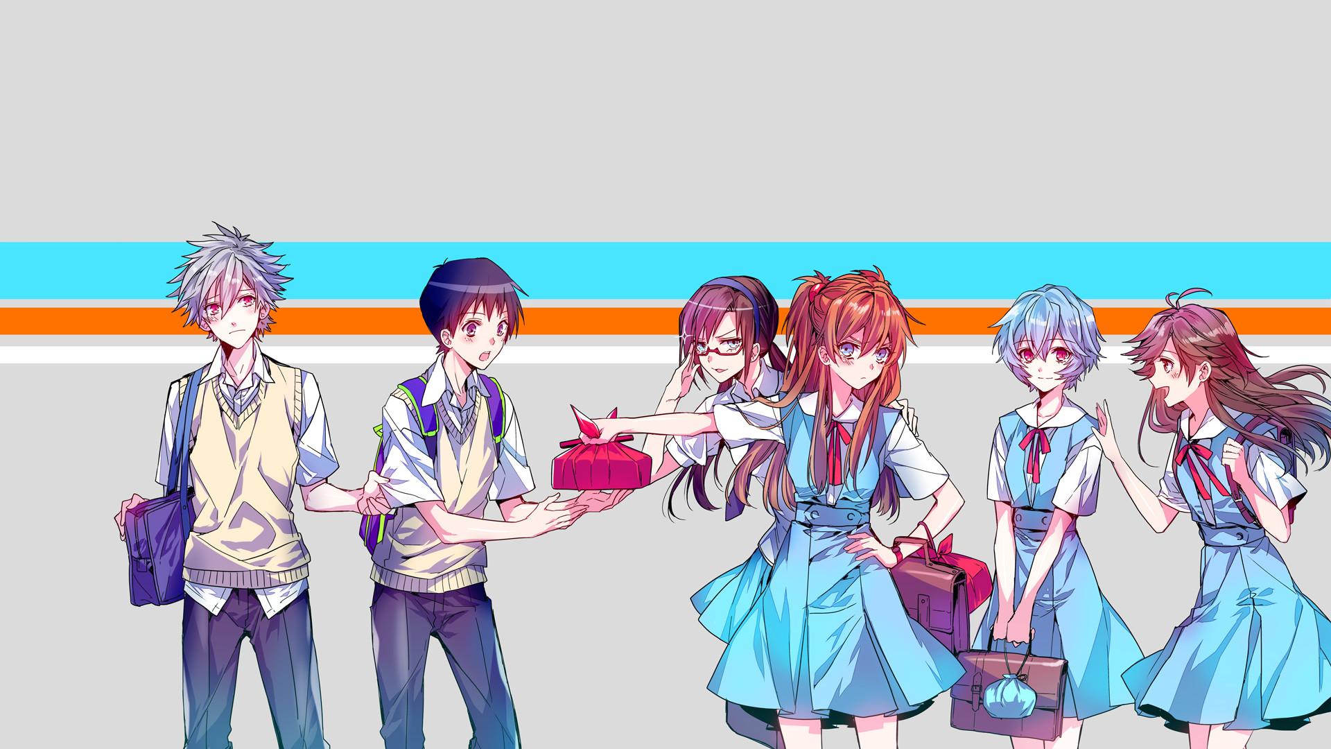 Anime – Neon Genesis Evangelion Asuka Langley Sohryu Rei Ayanami Shinji  Ikari Mari Makinami Illustrious Kaworu
