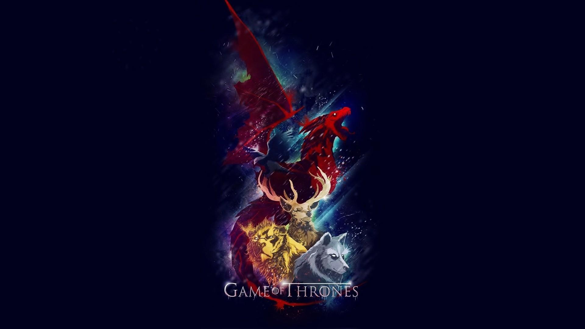Artwork Deer Dragons Game Of Thrones House Baratheon Lannister Stark  Targaryen Lions TV Series Wolves …