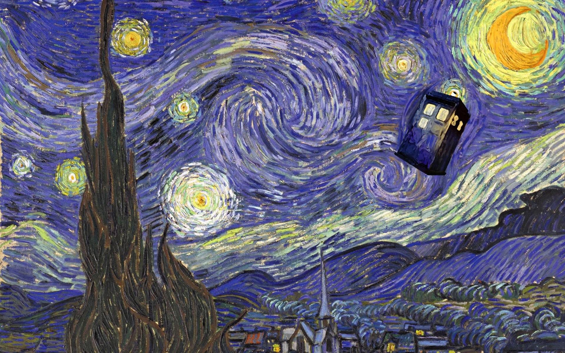 Tardis Van Gogh Wallpaper