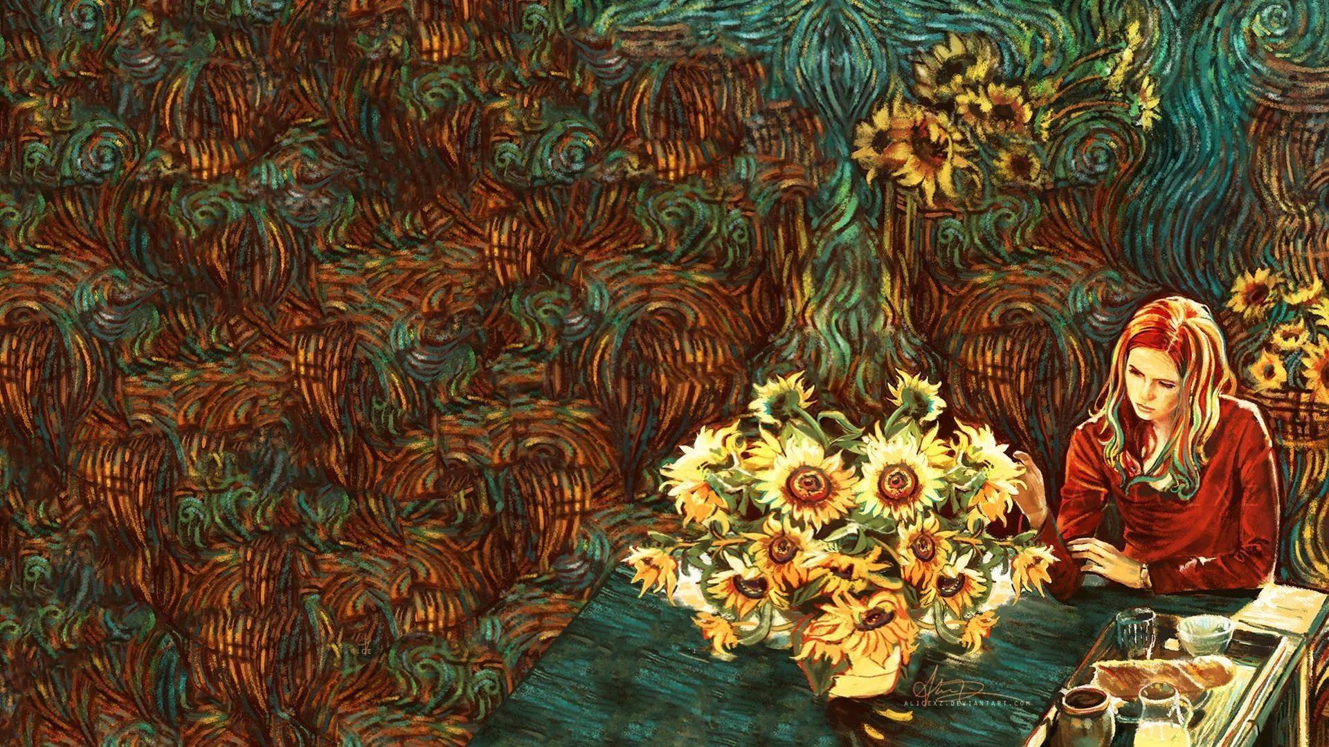 Van Gogh, Karen Gillan, Amy Pond, Doctor Who, sunflowers .