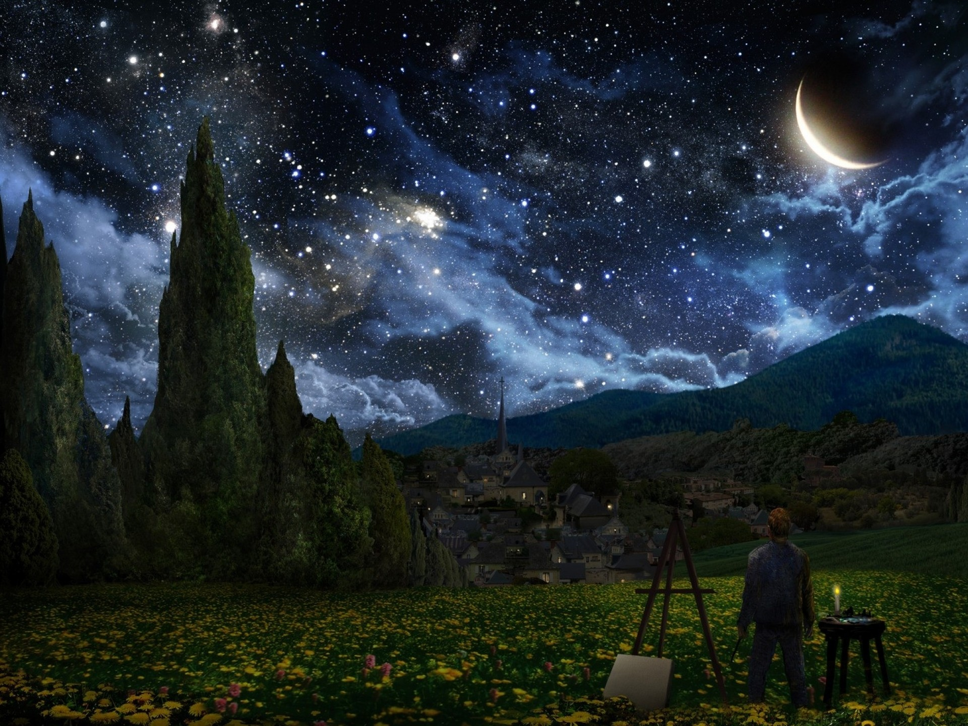This painting is an homage to Vincent Van Gogh's Starry Night. Painting by  Alex Ruiz.