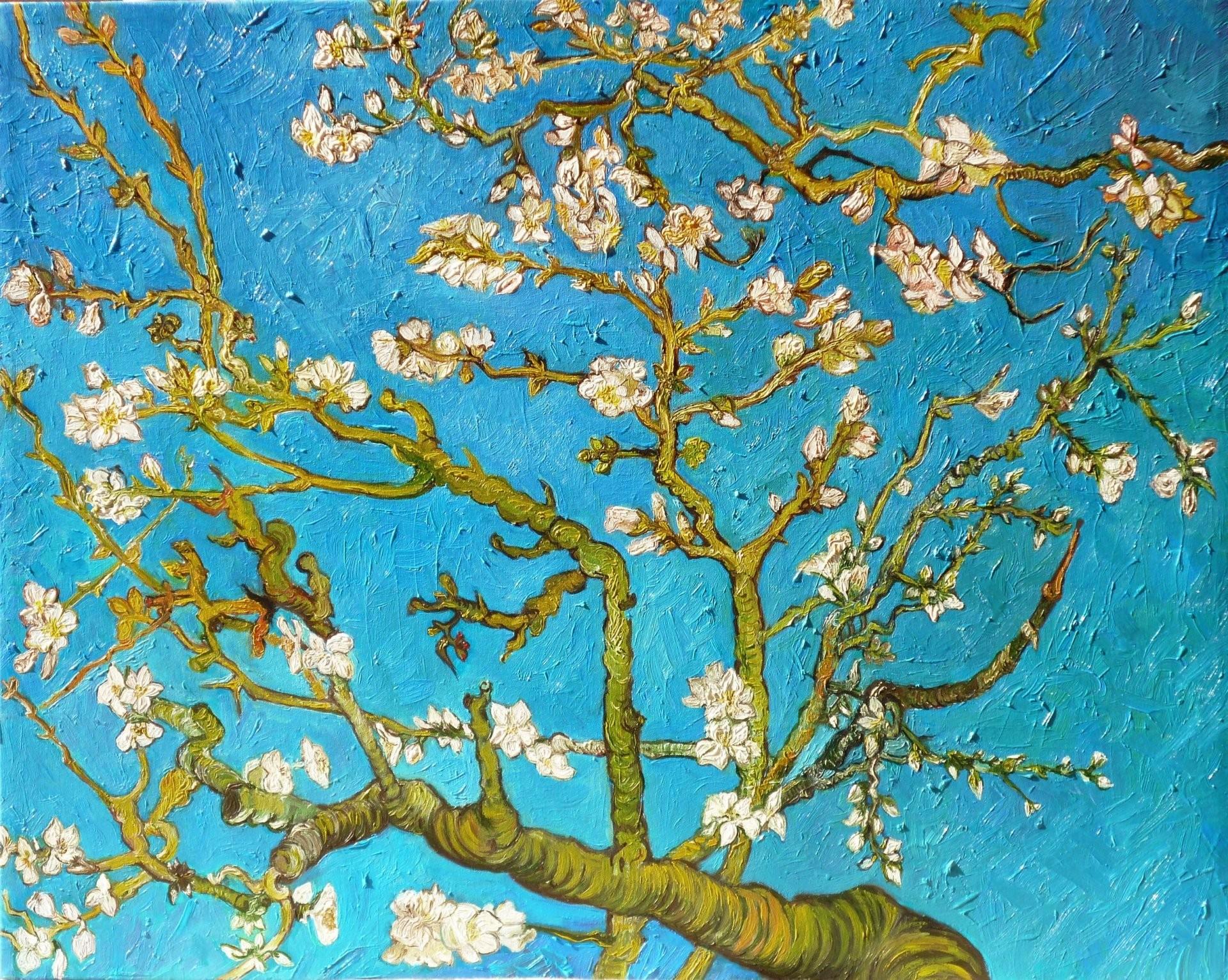 … almond tree vincent van gogh art blue pattern branch almond tree  vincent van gogh painting