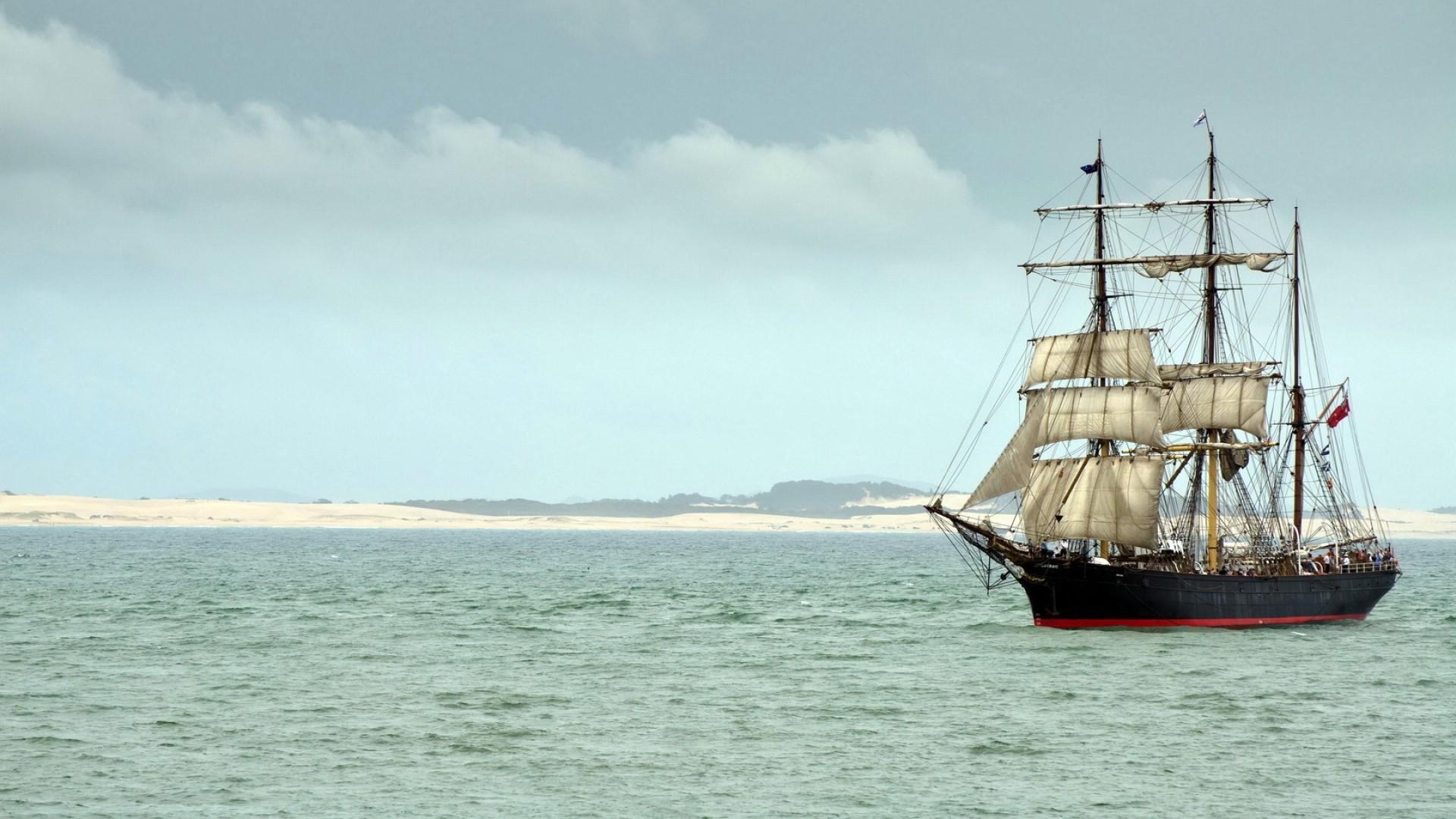 ship, sails, sea