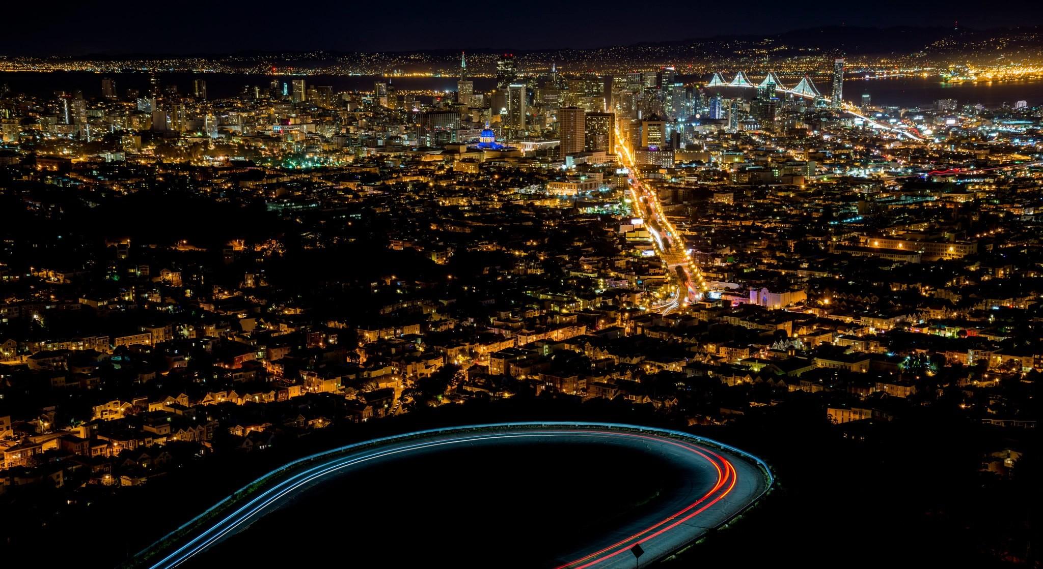 Twin Peaks San Francisco Night Wallpaper
