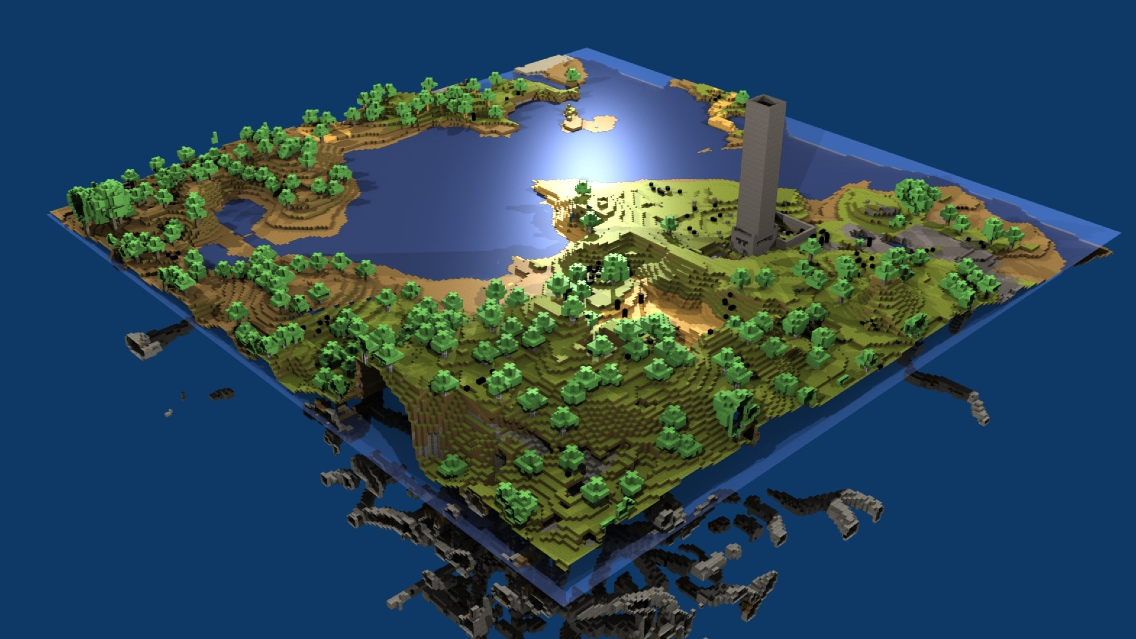 Wallpaper minecraft, world, map, water, life, blocks