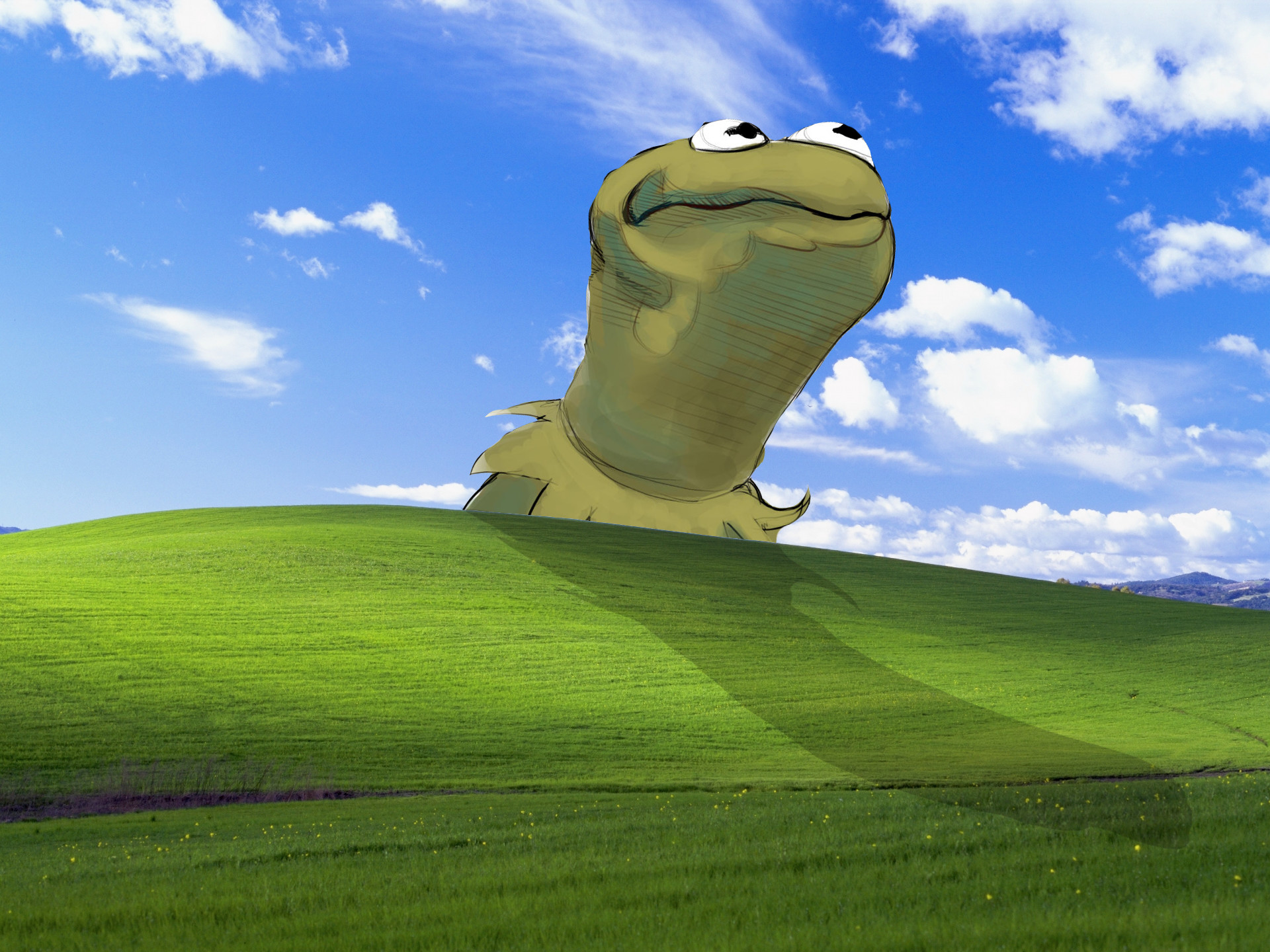 This is my new favorite wallpaper … Bliss Windows XP Kermit The Frog  Microsoft