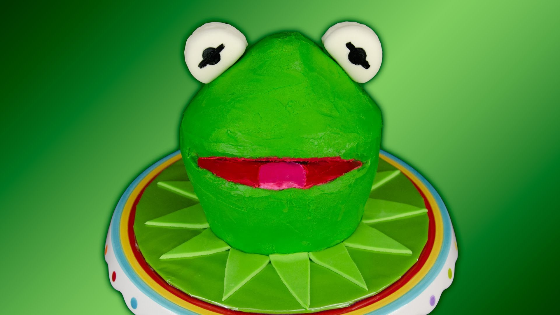 Kermit the Frog Cake / Muppets Cake using Green Velvet Cake by Cookies  Cupcakes and Cardio – YouTube