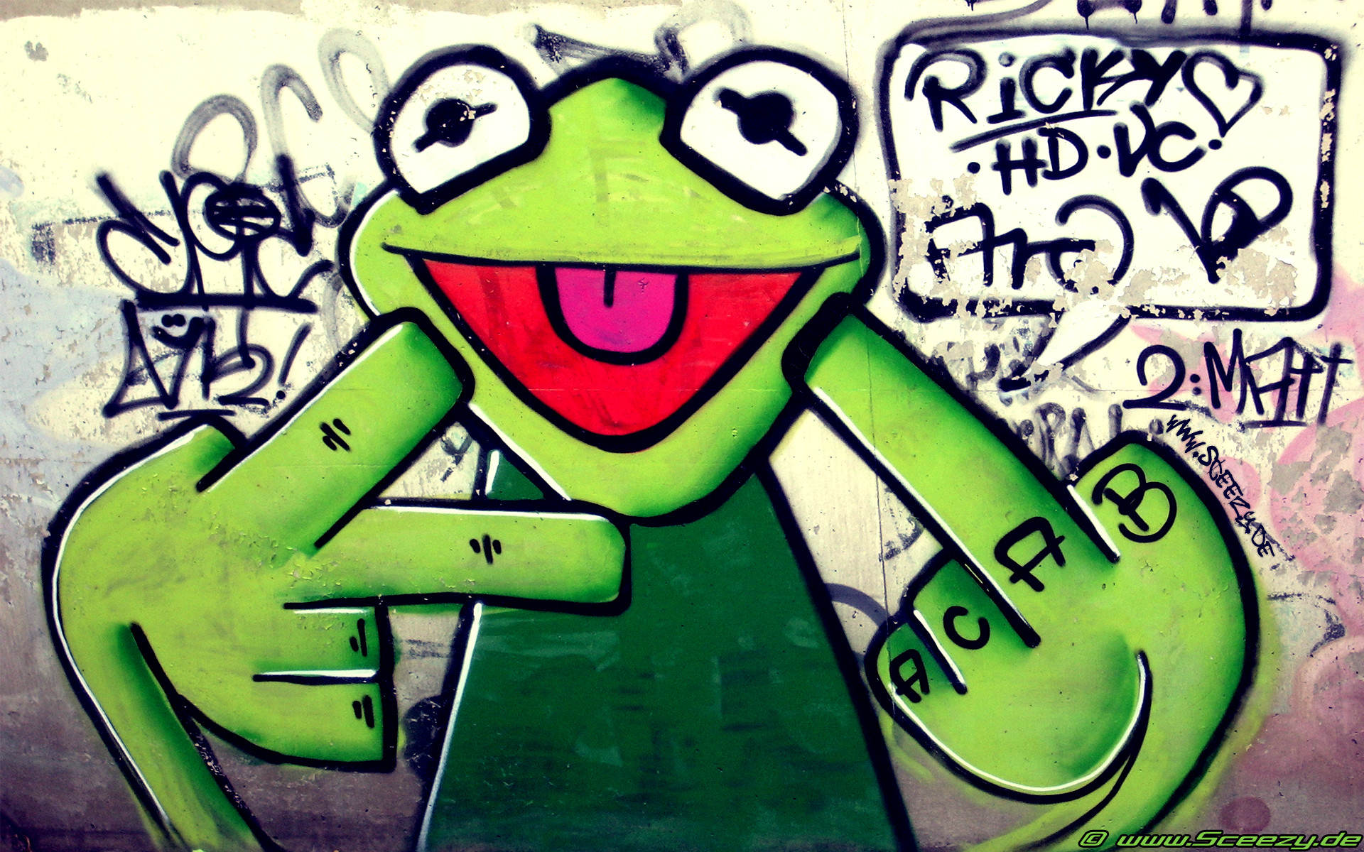 Graffiti urban kermit fuck gesture wallpaper | | 29416 |  WallpaperUP